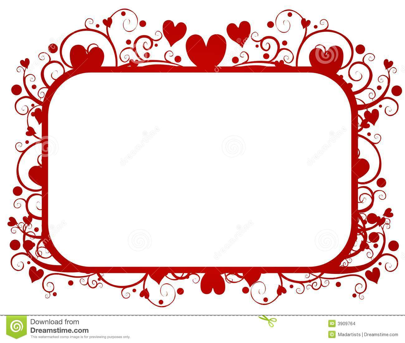 Red Hearts Swirls Valentines Day Frame Stock Illustration