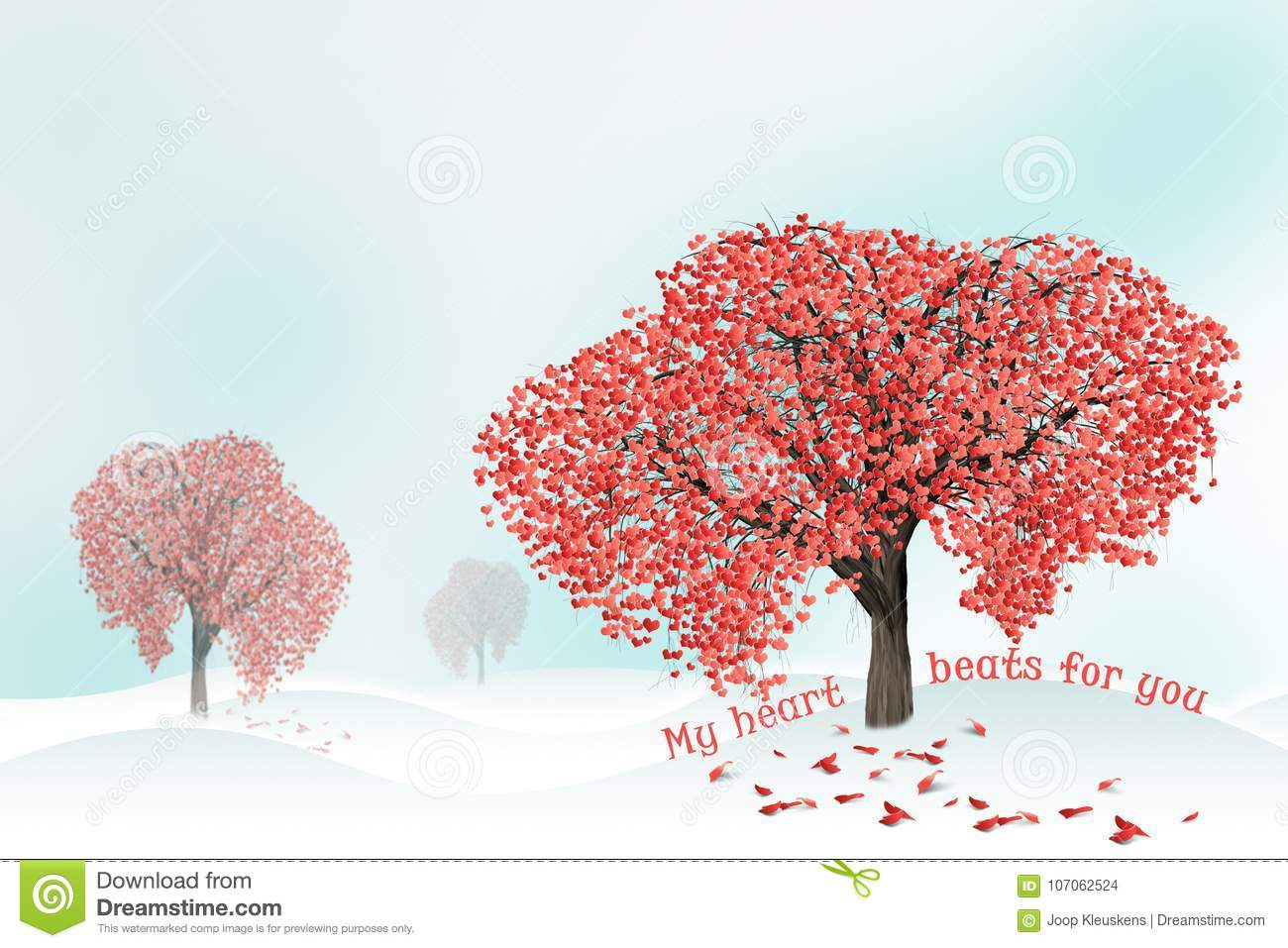 Love tree full of heart shaped leaves stock illustration download comp mightylinksfo