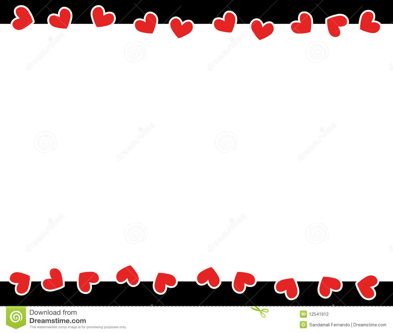 Red Hearts Valentineu0027s Day Border Stock Photography