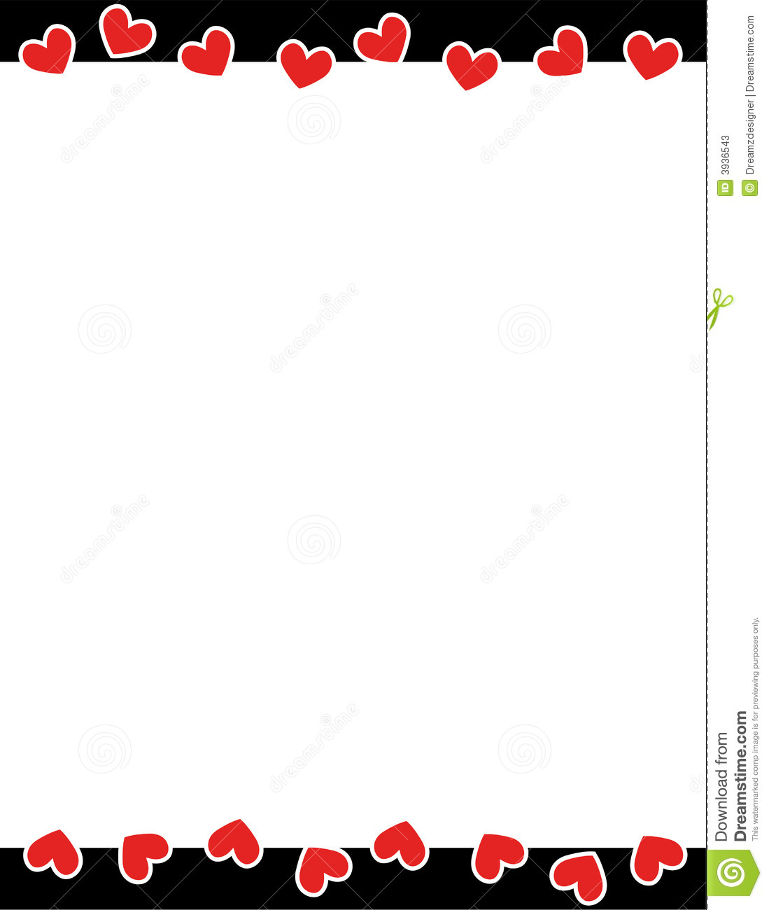 red hearts valentine u0026 39 s day border stock vector