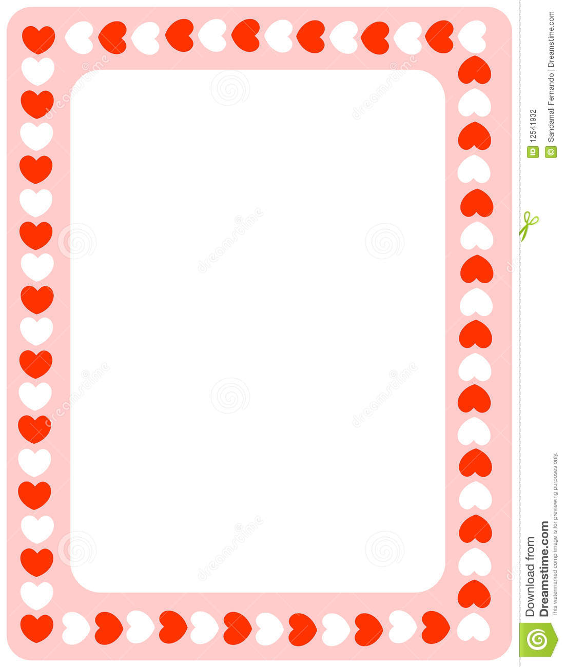 Red Hearts Valentines Day Border Stock Vector Illustration Of Card