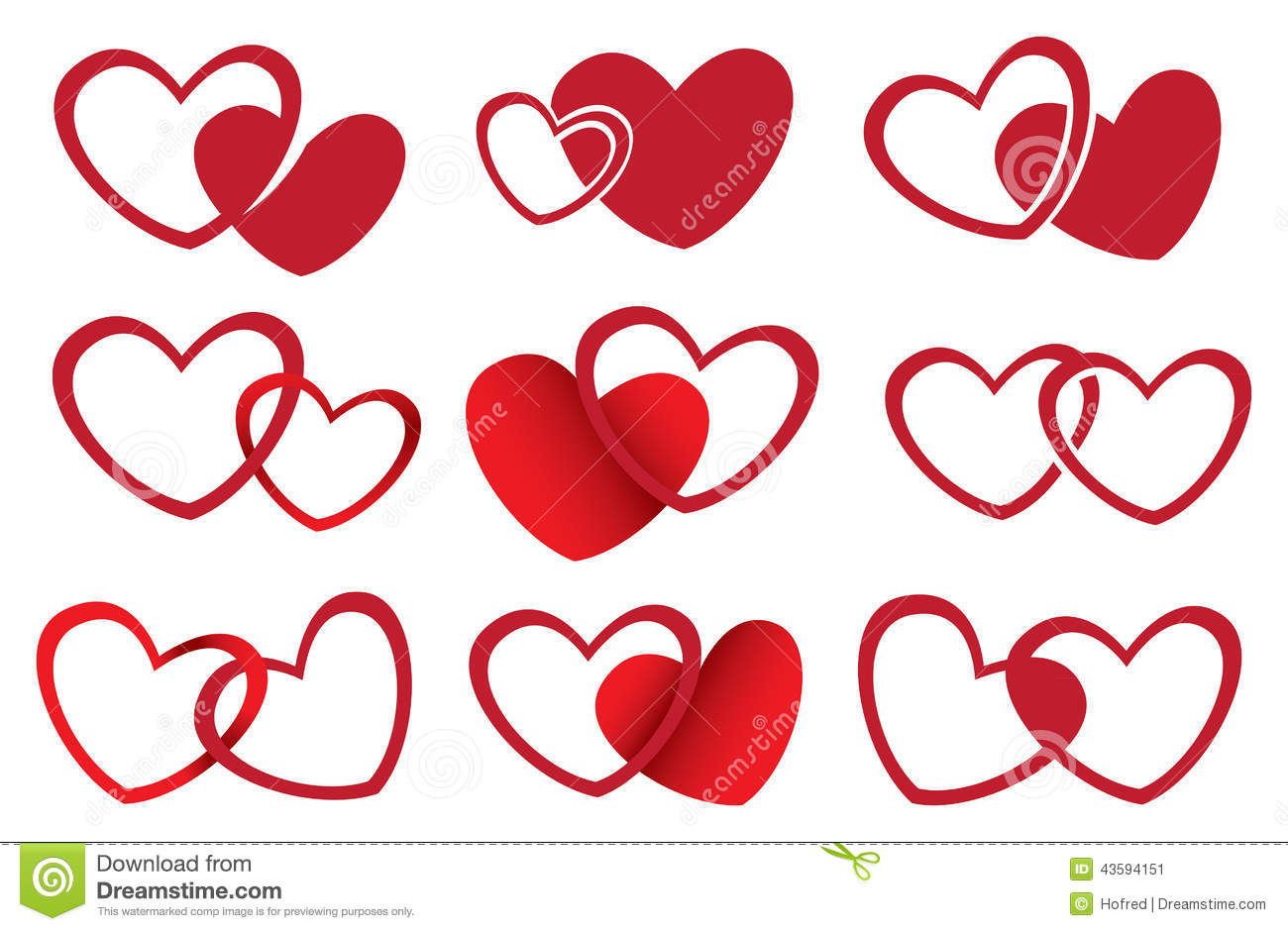 Red Hearts Vector Design For Love Theme Stock Vector - Image: 43594151