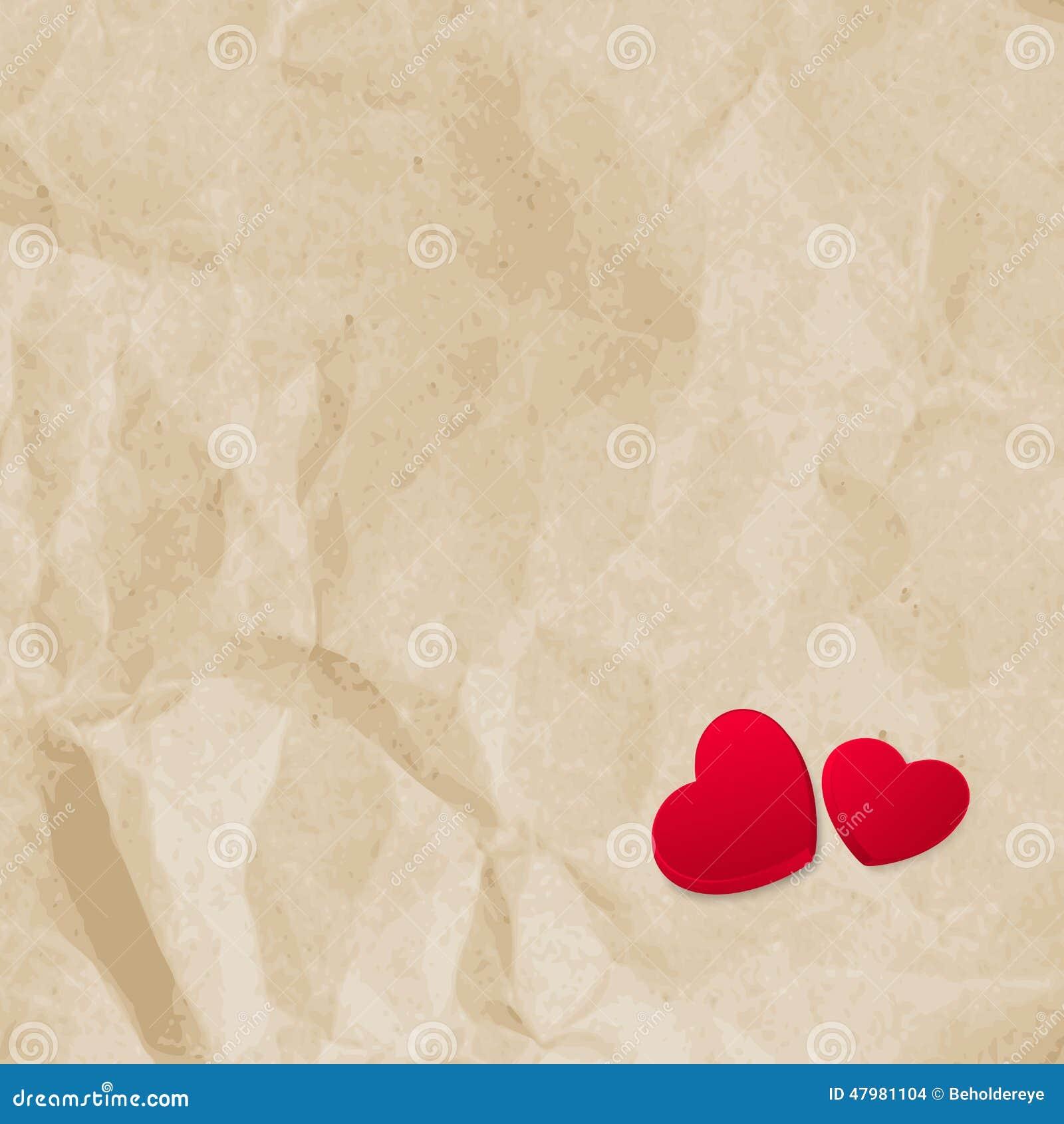 Vintage Heart Background Red Hearts On V...