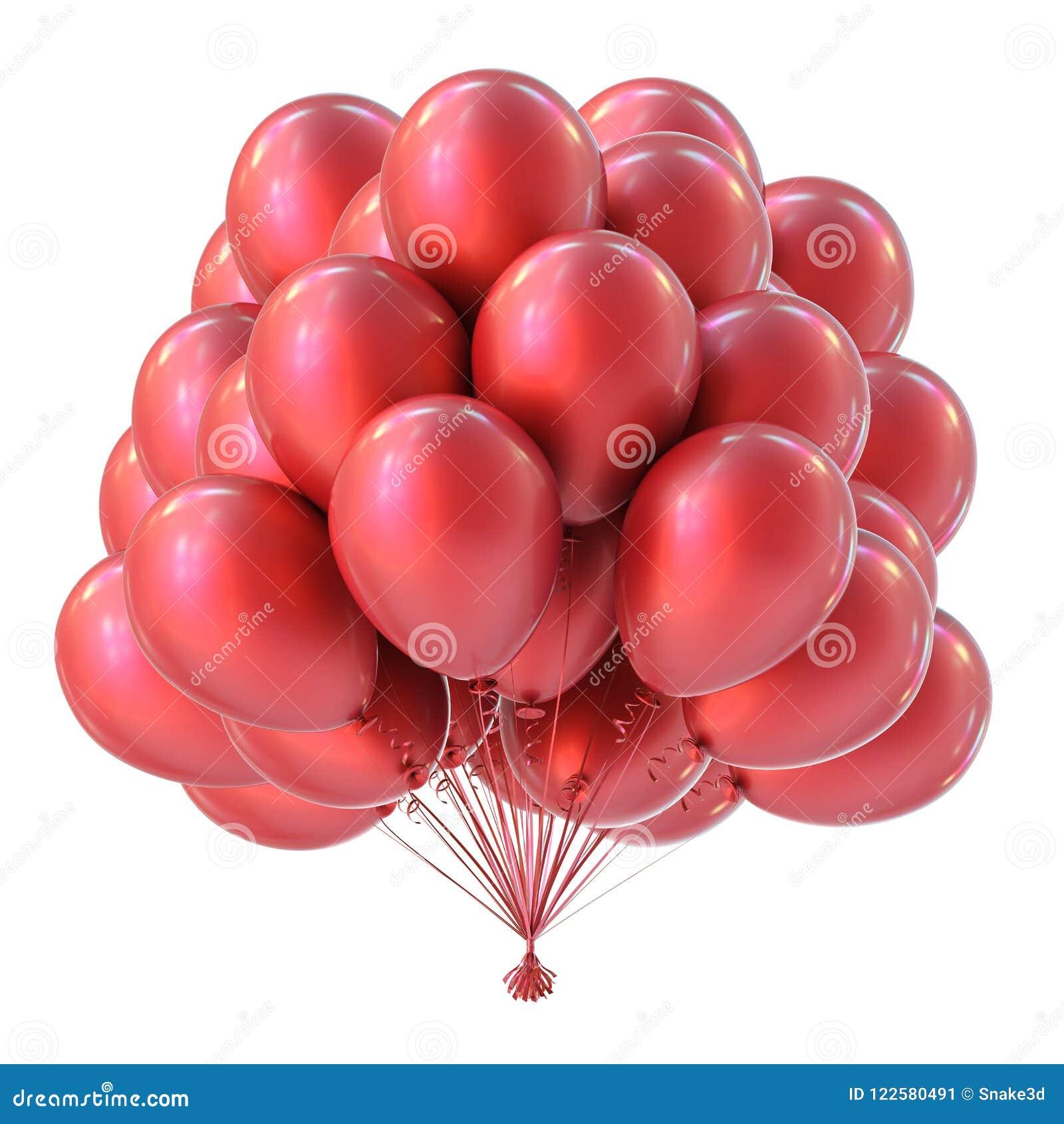 Red Helium Balloons Bunch Happy Birthday Symbol Stock Illustration