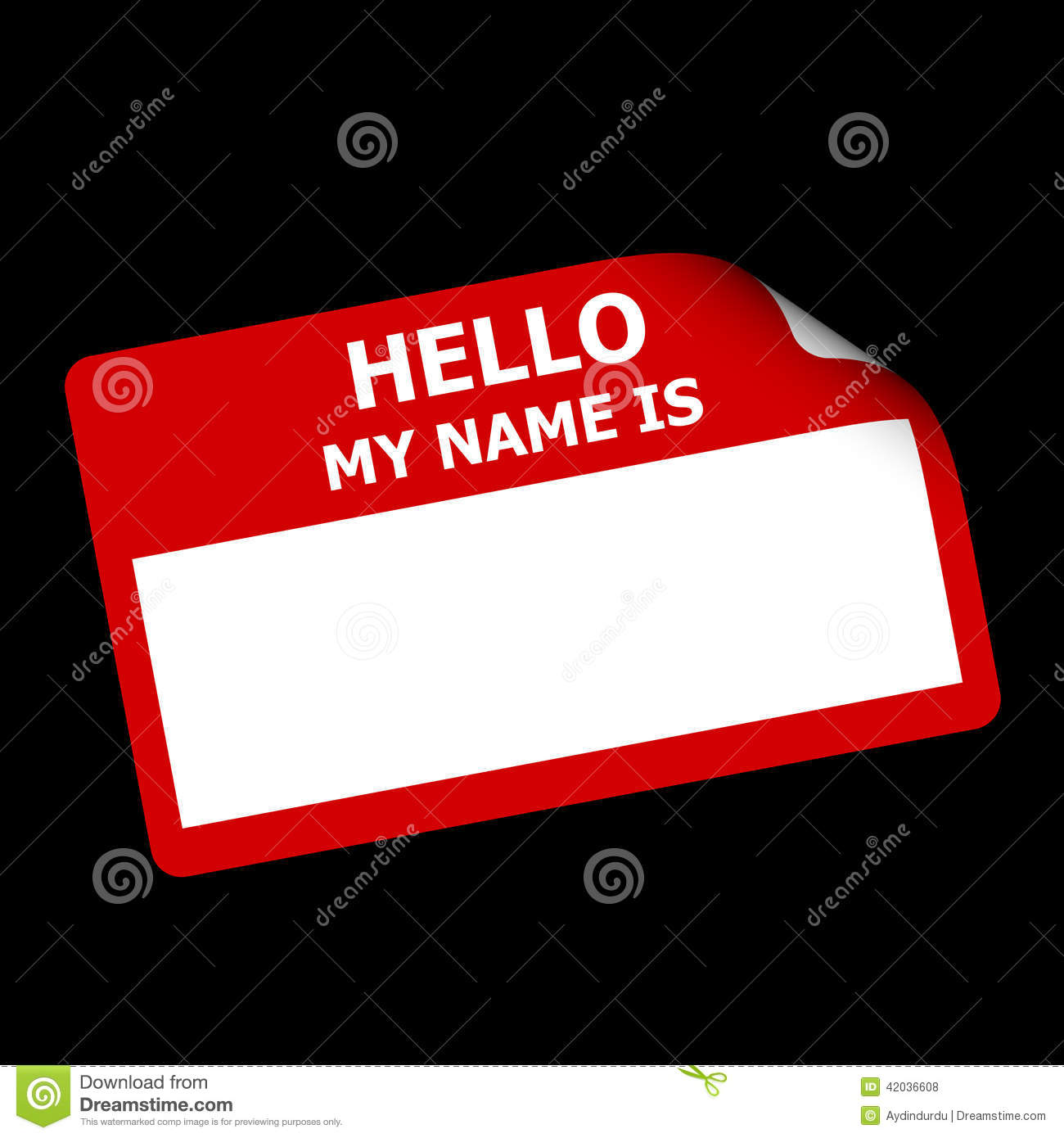 Red name tag or sticker with words Hello My Name is with bent corner ...