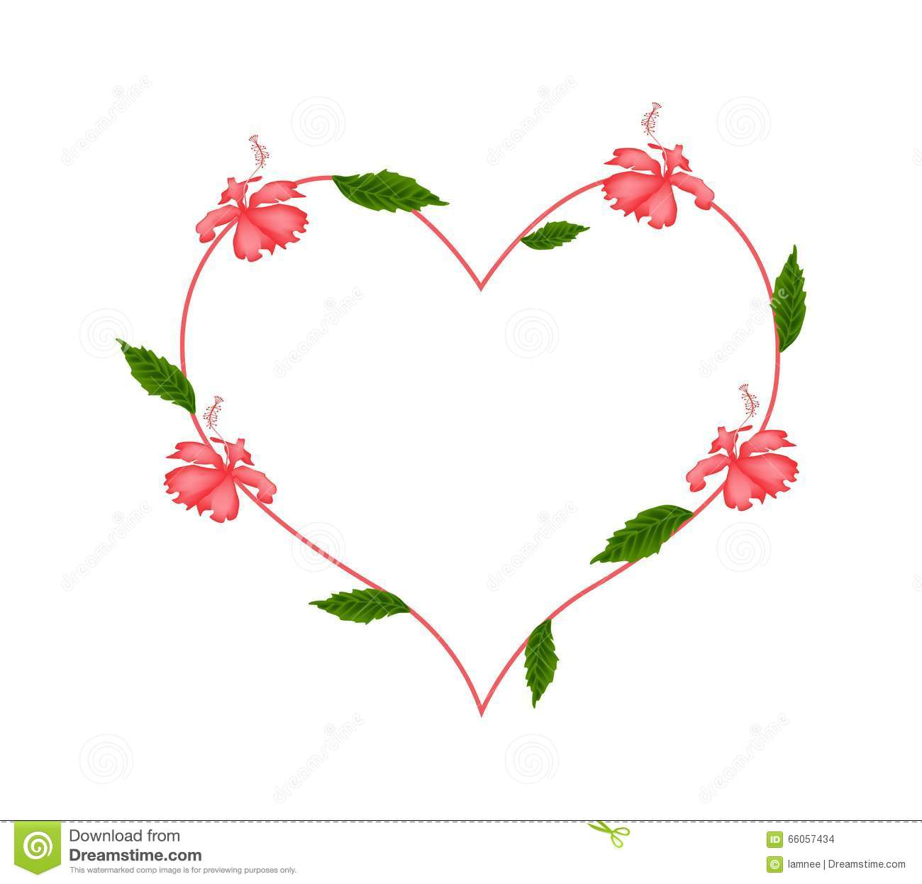 Red Hibiscus Flowers In A Heart Shape Stock Vector Illustration Of