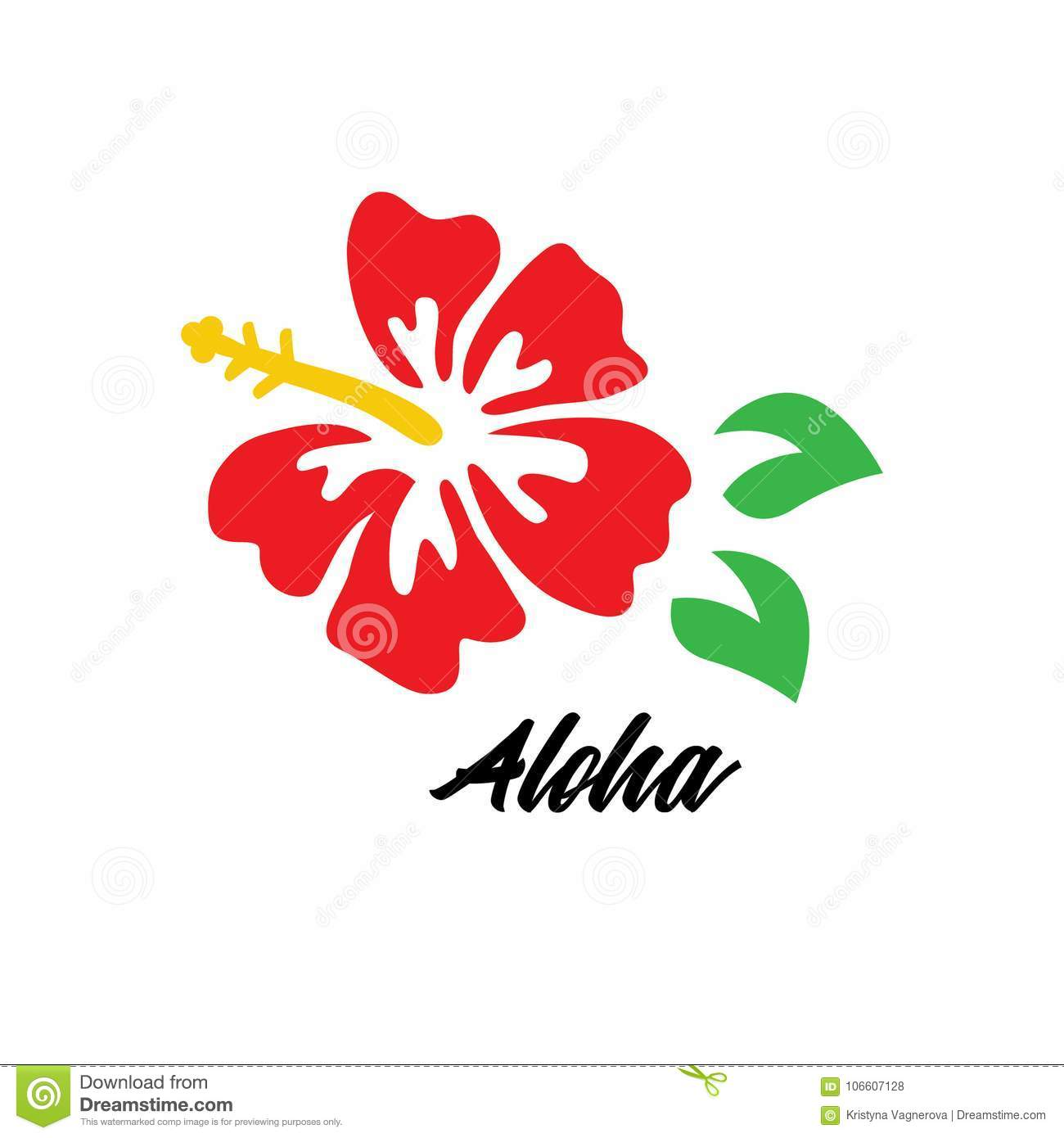 Red Hibiscus Vector Aloha Logo Stock Vector Illustration Of