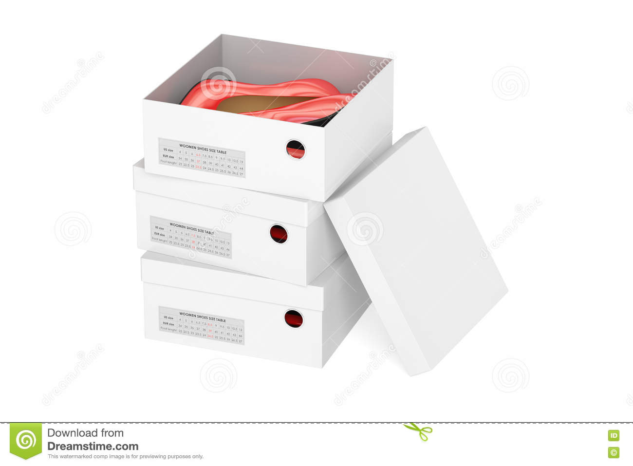 Red high heel shoes in the shoeboxes, 3D rendering
