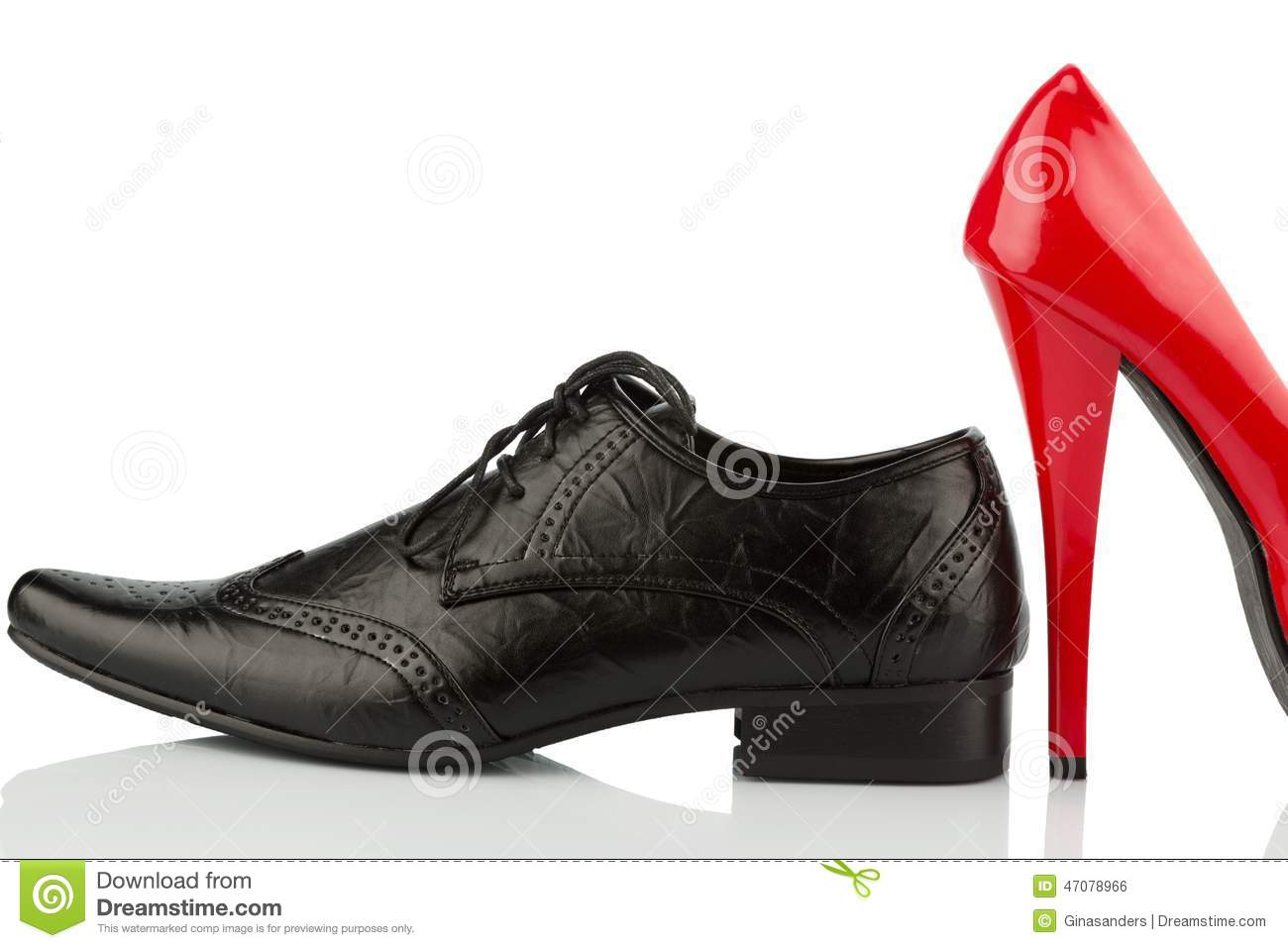 Red High Heels And Men's Shoe Stock Photo - Image: 47078966