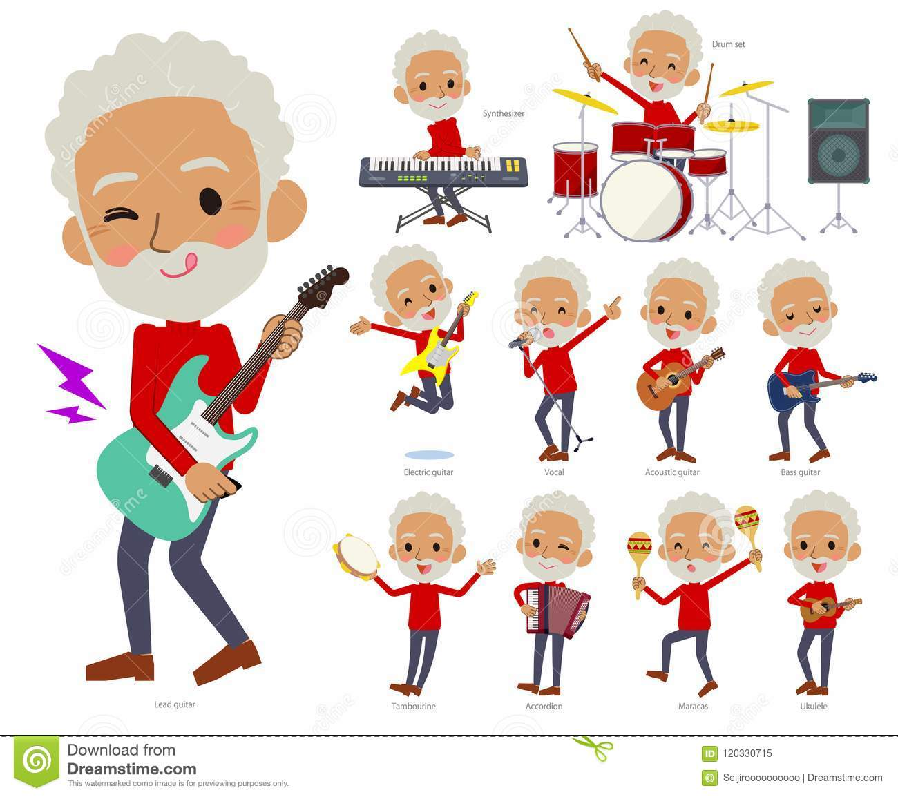 c864696e14 A set of old men playing rock `n` roll and pop music.There are also various  instruments such as ukulele and tambourine.It`s vector art so it`s easy to  edit.