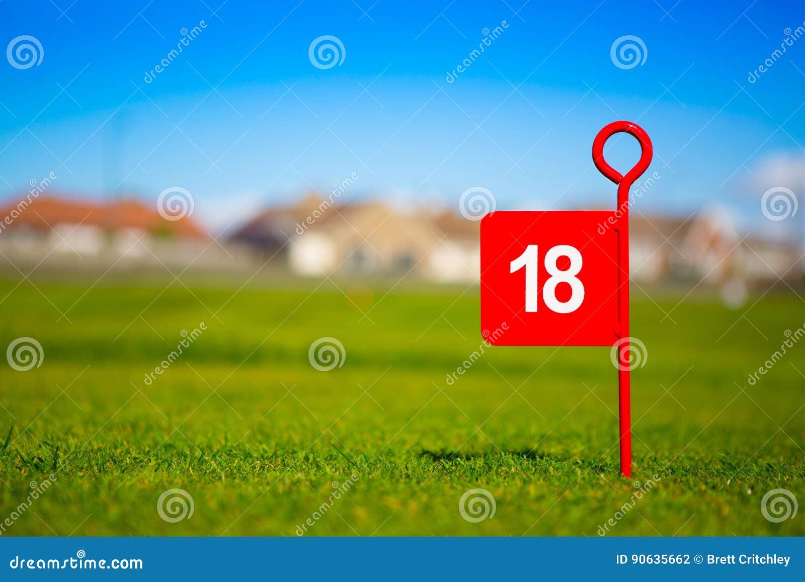 Red 18 hole golf flag