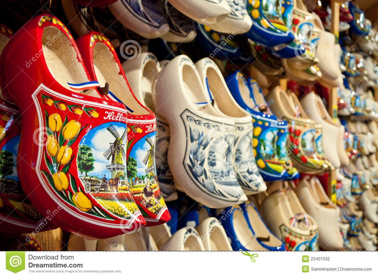 Red Holland Clogs Horizontal Stock Photography Image