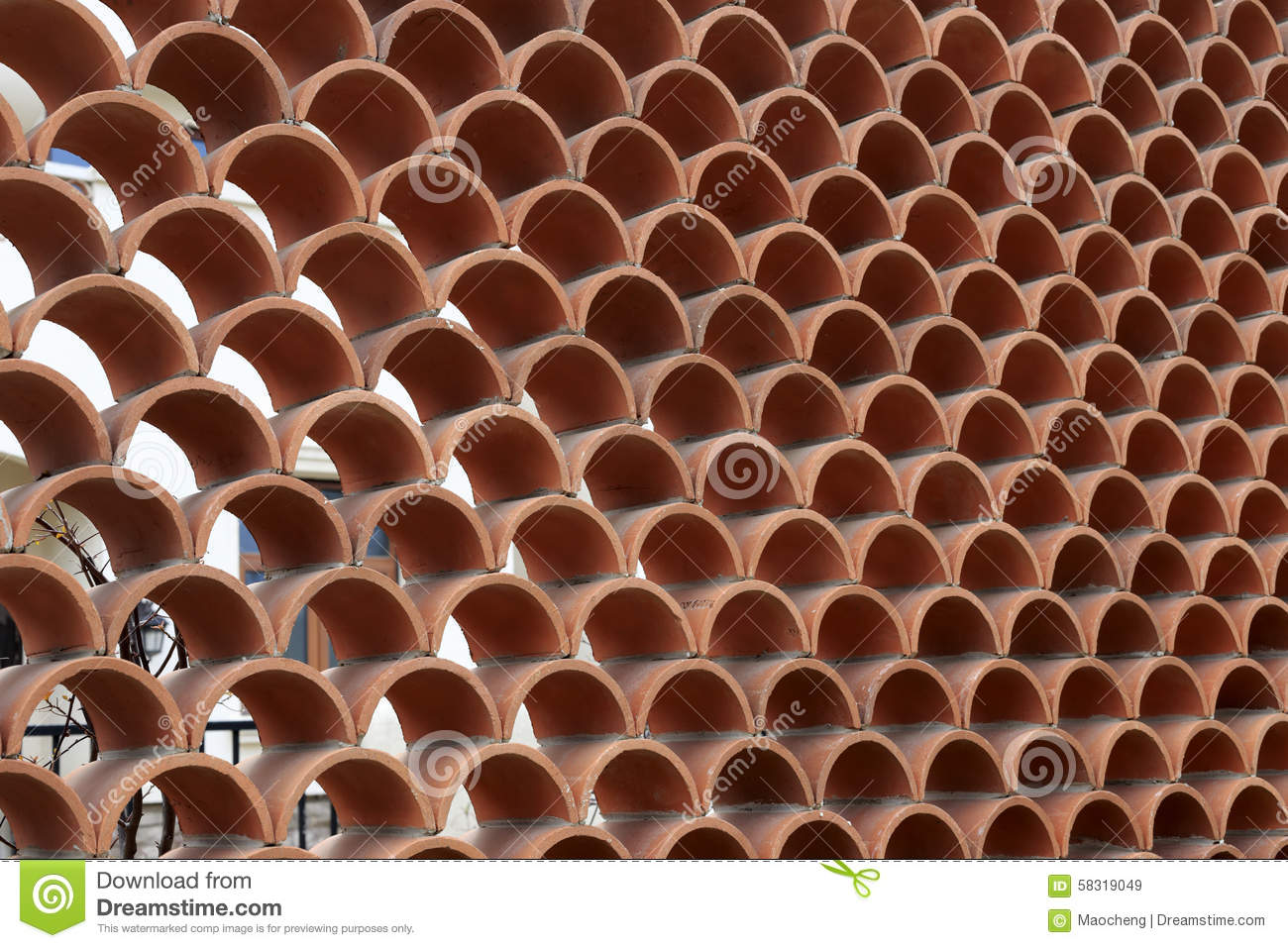 Red Hollow Wall Stock Photo Image 58319049