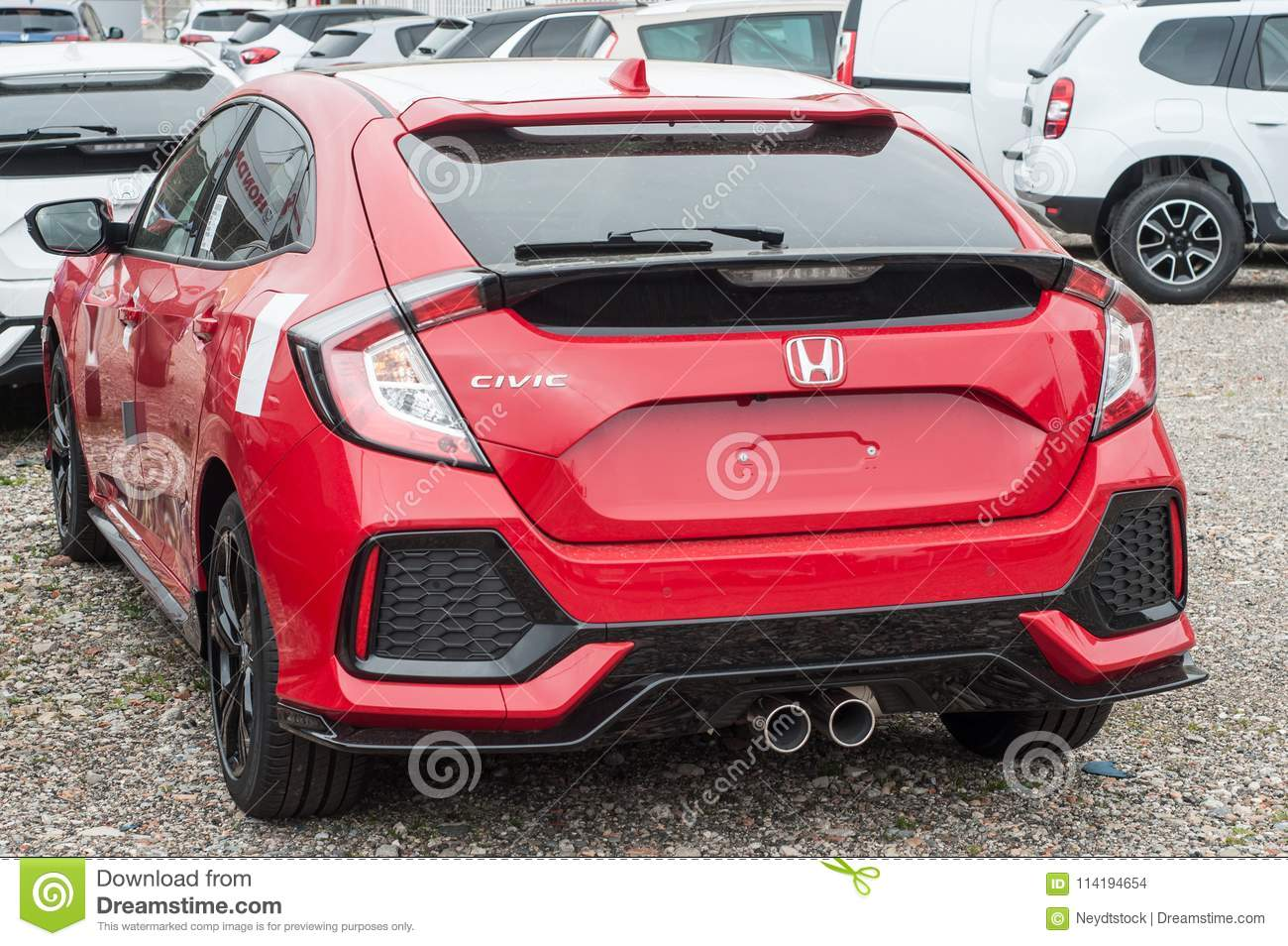 Red Honda Civic R At Showroom Editorial Stock Image