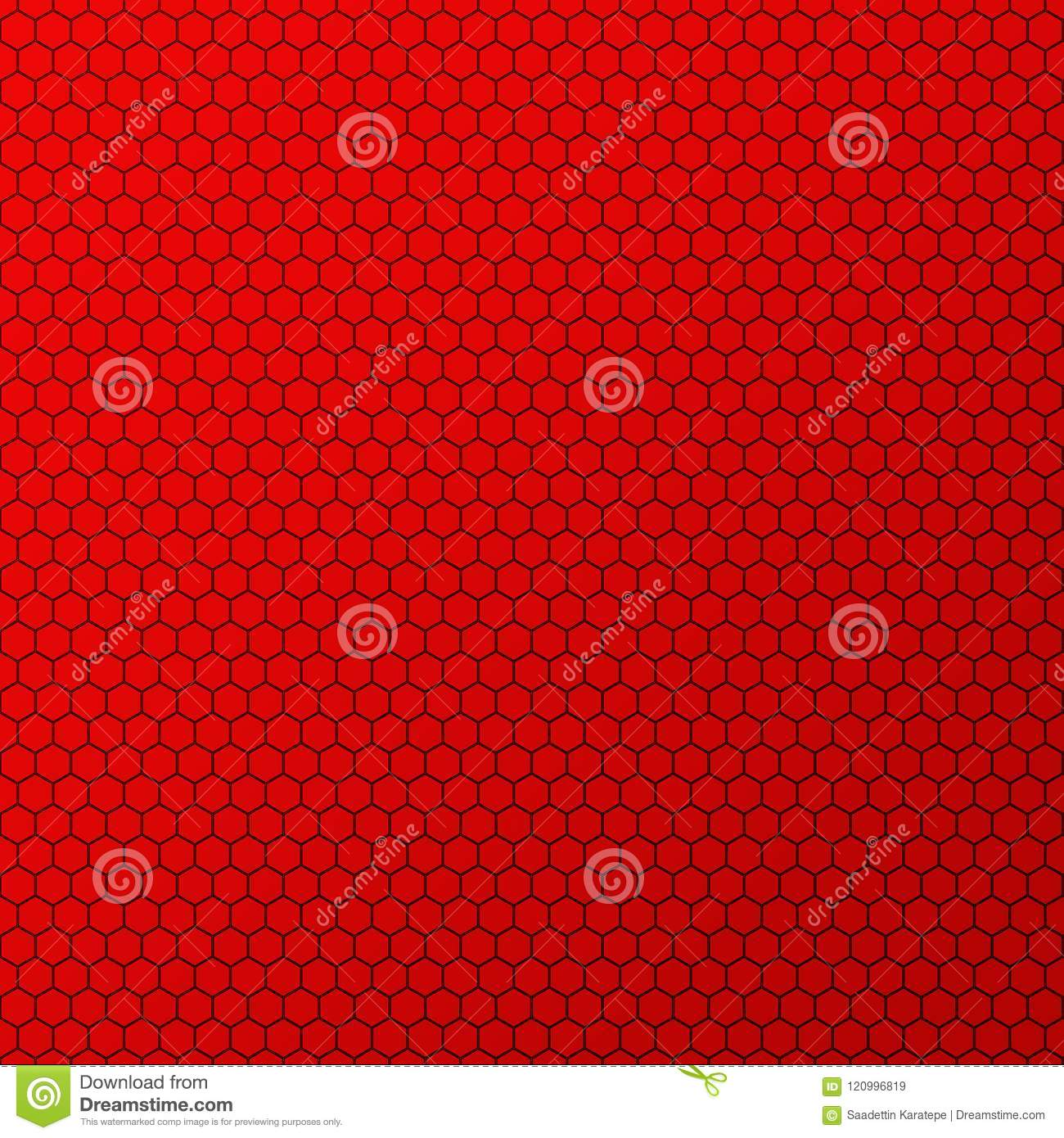 Red Honeycomb Design Abstract Background. Stock