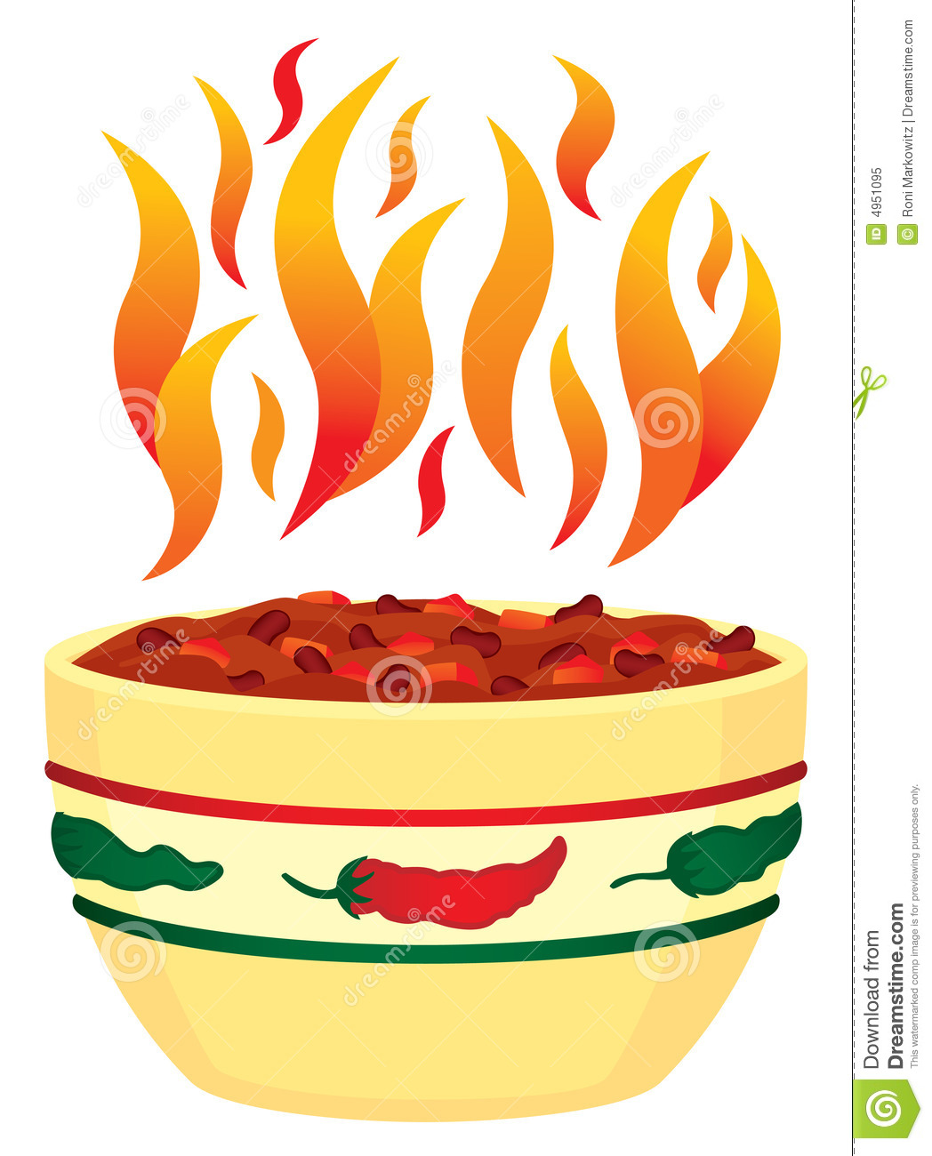 Red hot chili in bowl with fla