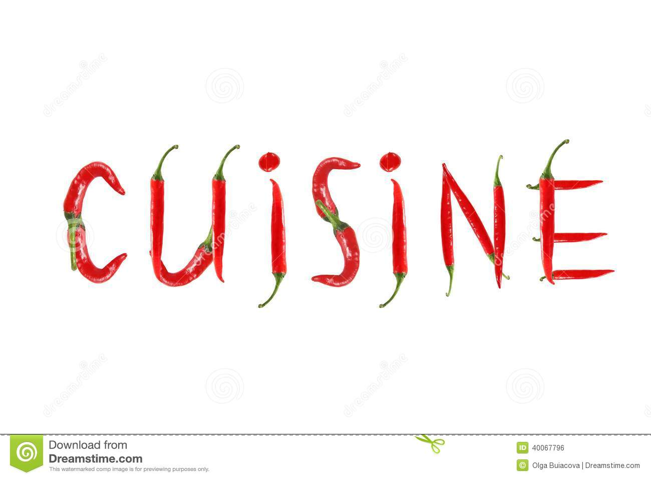 Red hot chili pepper isolated word cuisine stock photo for Cuisine words
