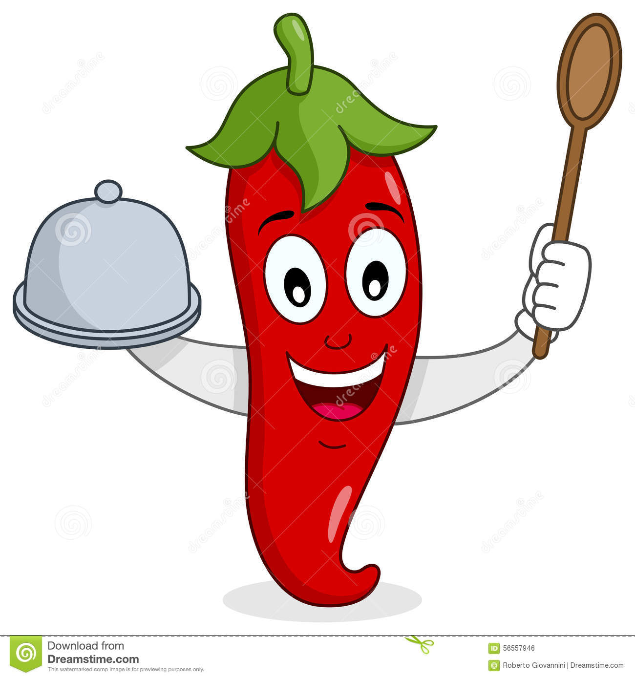 Red Hot Chili Pepper With Tray And Spoon Stock Vector ...