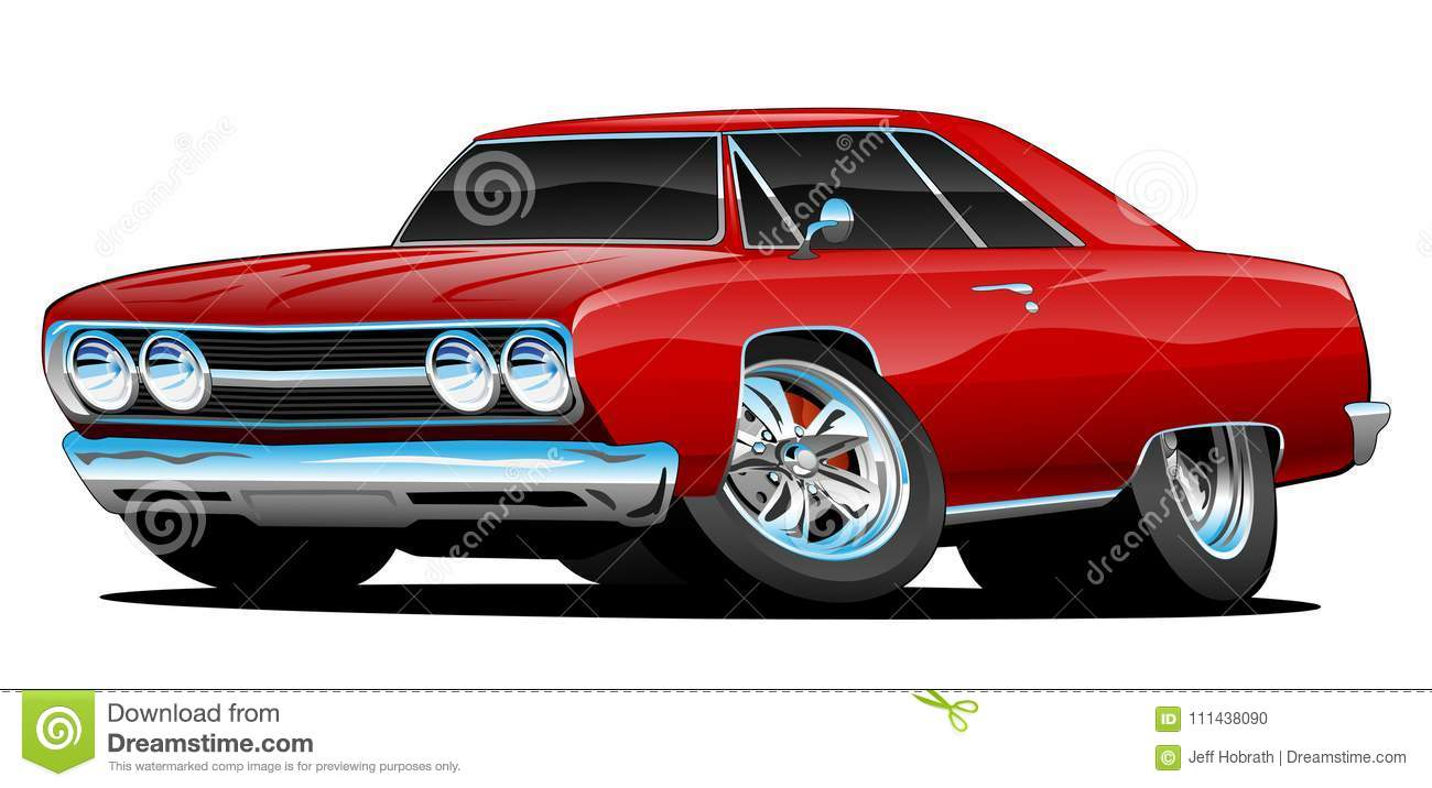 Red Hot Classic Muscle Car Coupe Cartoon Vector Illustration Stock