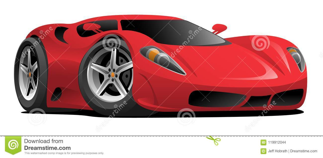 Red Hot European Style Sports Car Cartoon Vector Illustration Stock