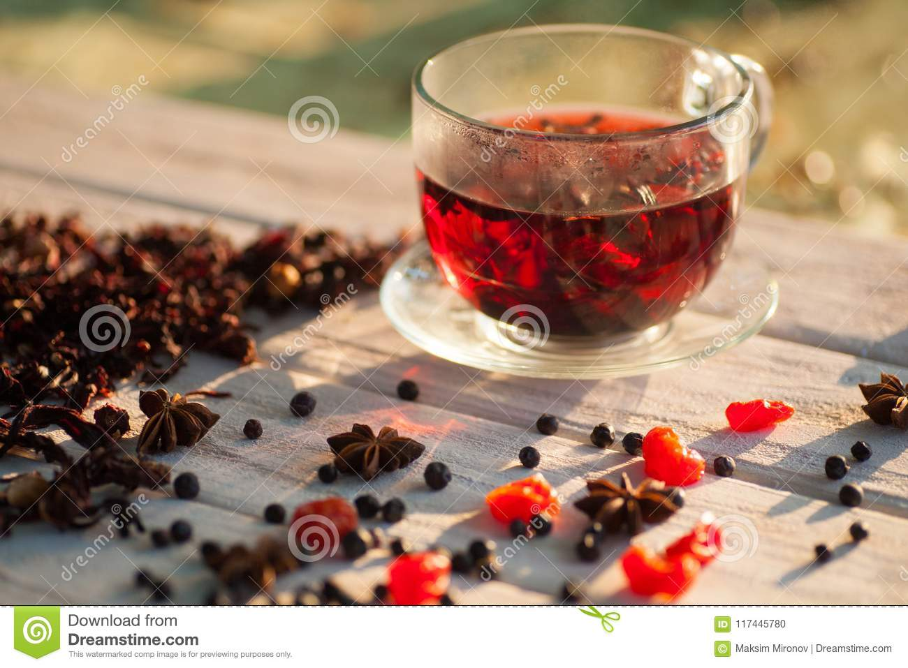 Red Hot Hibiscus Tea In A Glass Mug Stock Photo Image Of Healthy