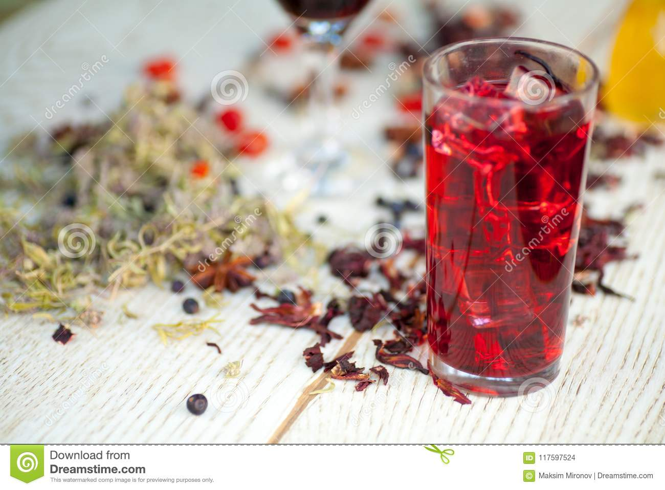 Red Hot Hibiscus Tea In A Glass Mug Stock Photo Image Of Drink