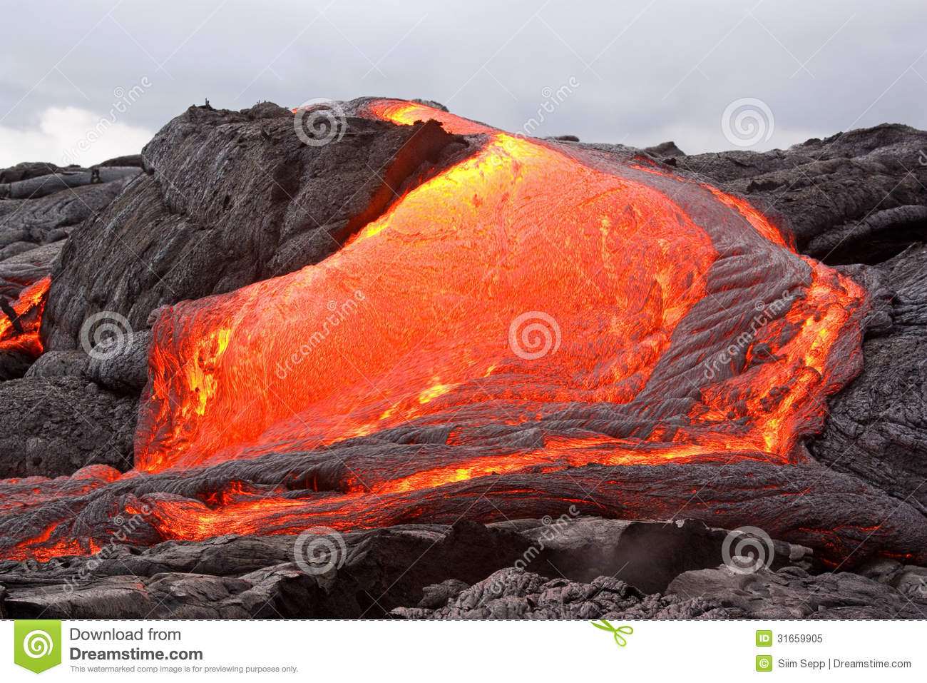 Download Red hot lava flowing stock image. Image of travel, danger - 31659905