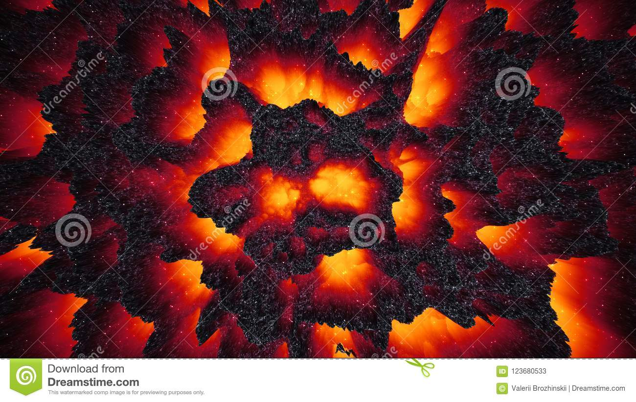 Red Hot Lava Magma Background Abstract 3D Illustration Wallpaper Dark Matter Way