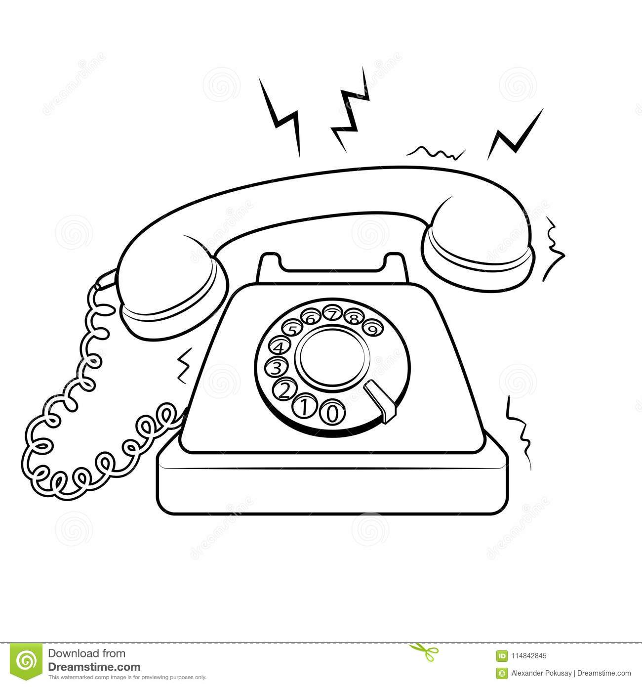 Red Hot Old Phone Coloring Book Vector Stock Vector - Illustration ...