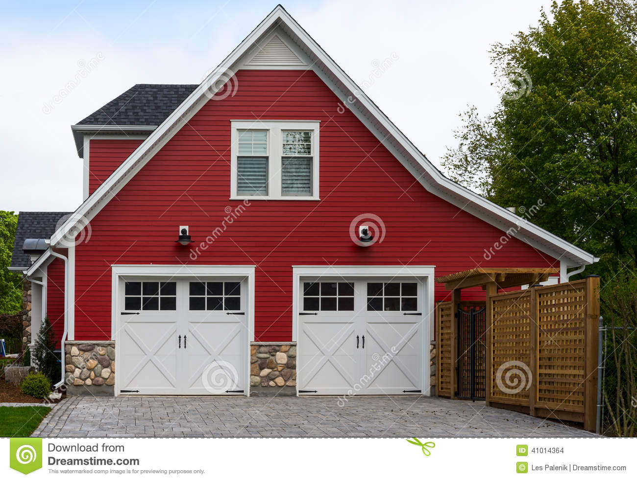 Red house with a double garage stock photo image 41014364 for Garage attached