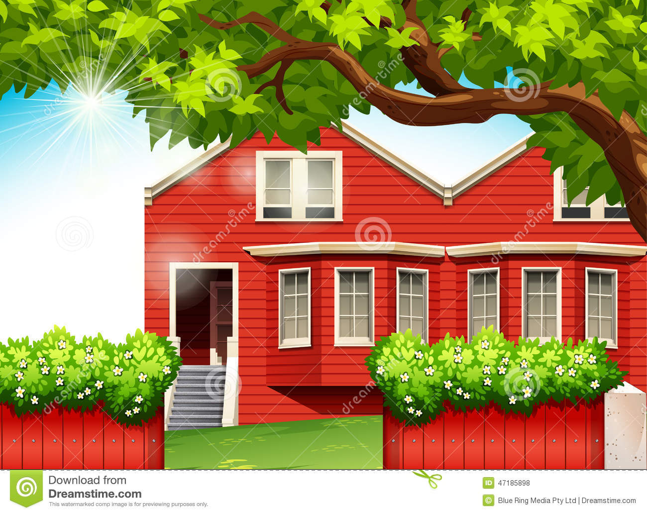 A Red House Stock Vector Image 47185898