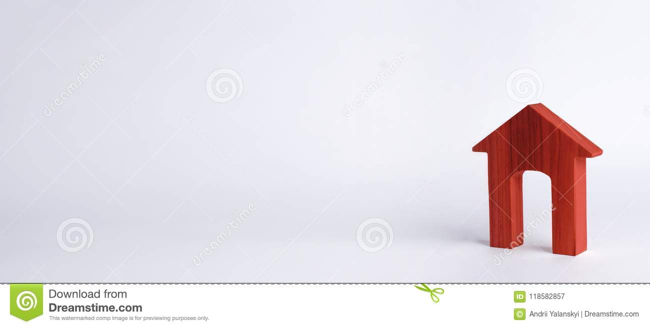 Red house with a large doorway on a white background. The concept of buying and selling real estate, rental housing. Affordable