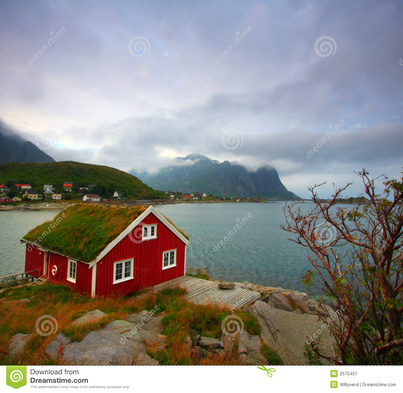 Red House And Sea Stock Image Image Of Green Cliff