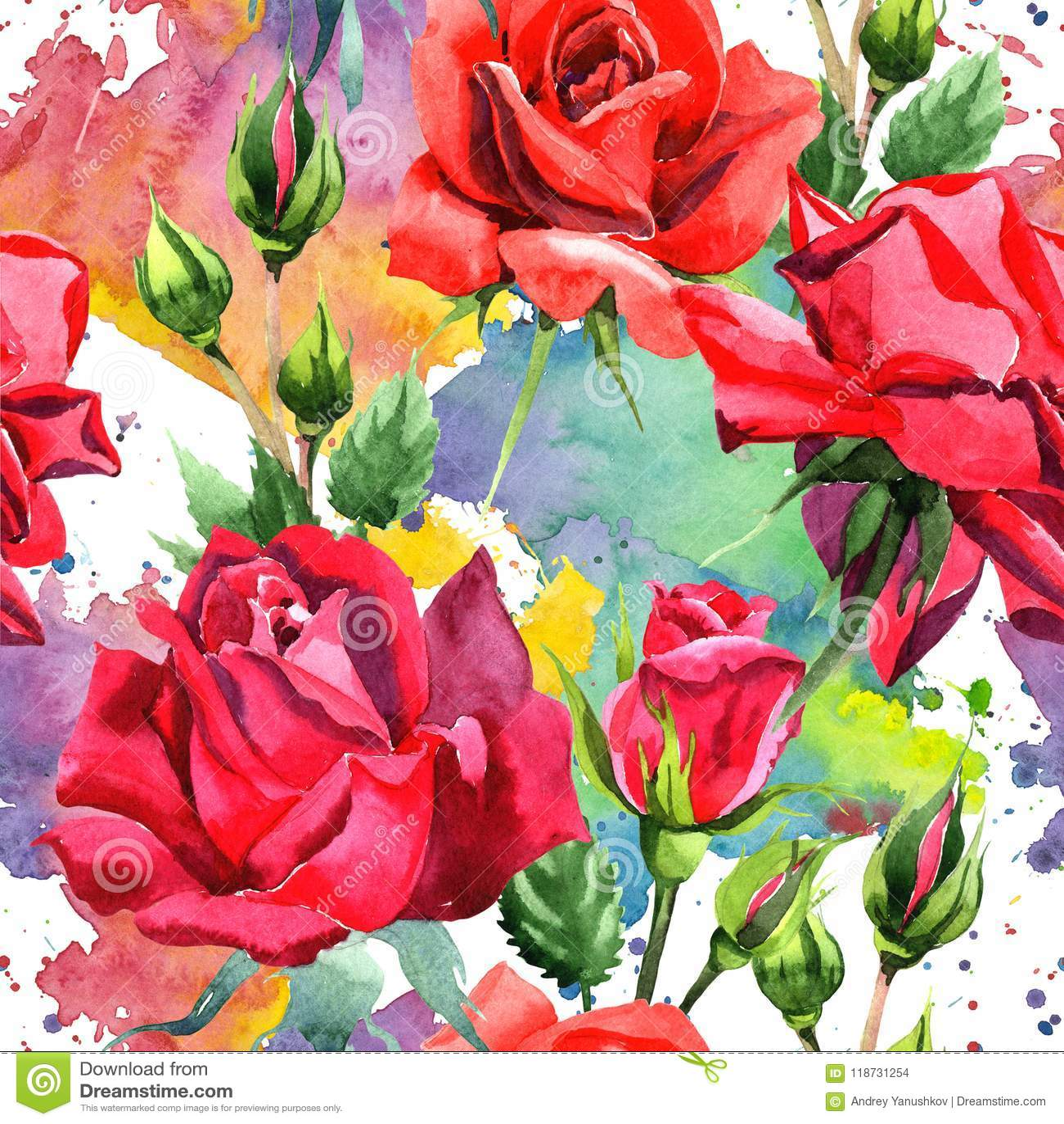 Dark Red Roses Flowers Watercolor Botanical Art Boho: Red Hybrid Rose. Floral Botanical Flower. Seamless