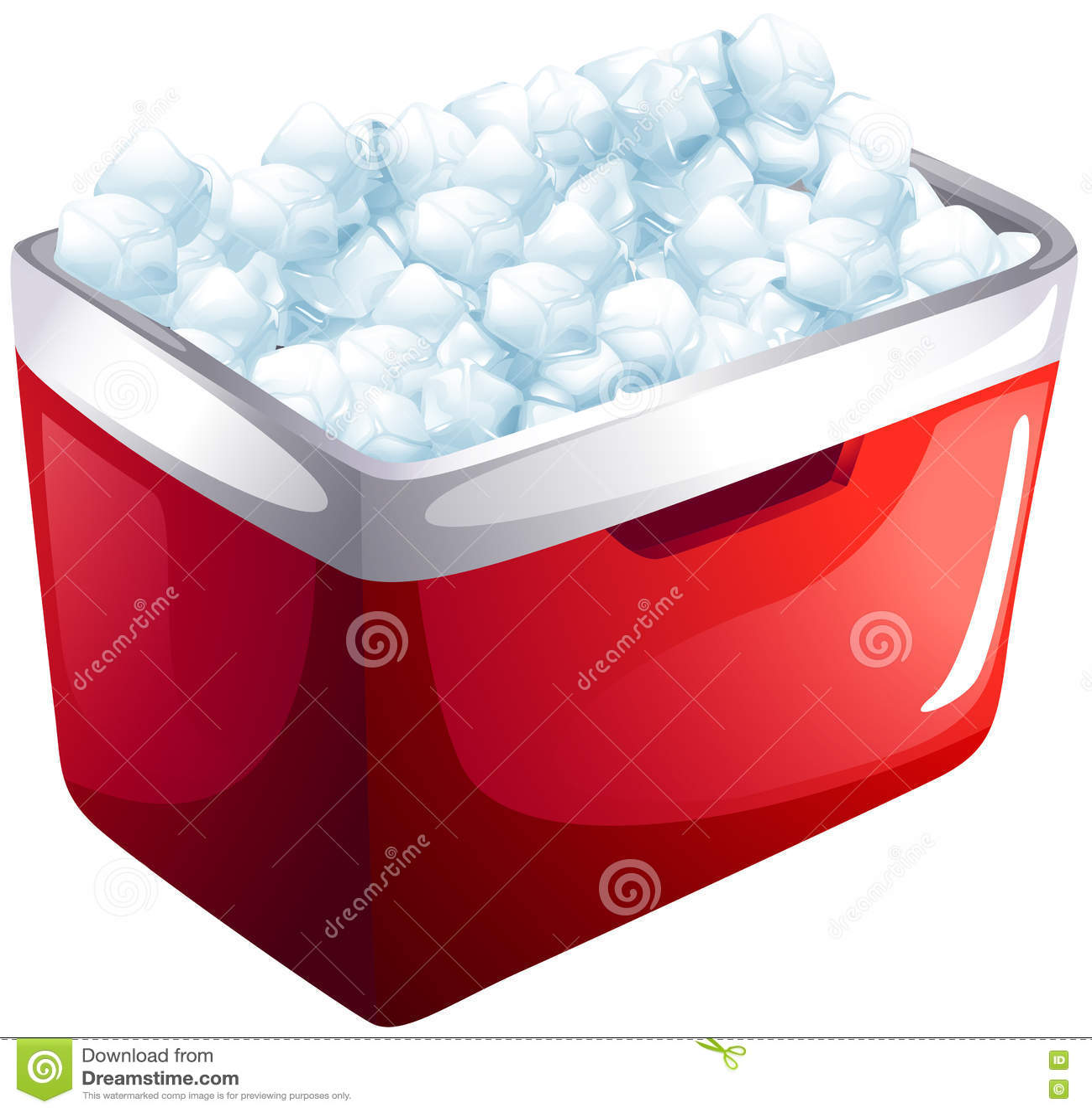 Red icebox full of ice