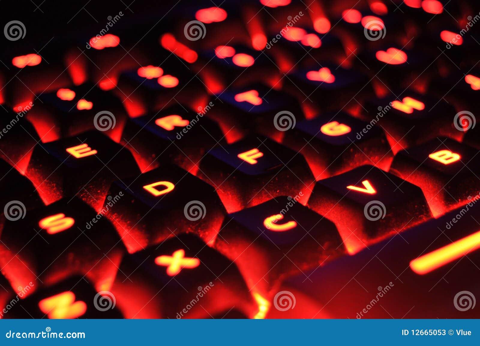 Red Illuminated Keyboard Stock Photos Image 12665053
