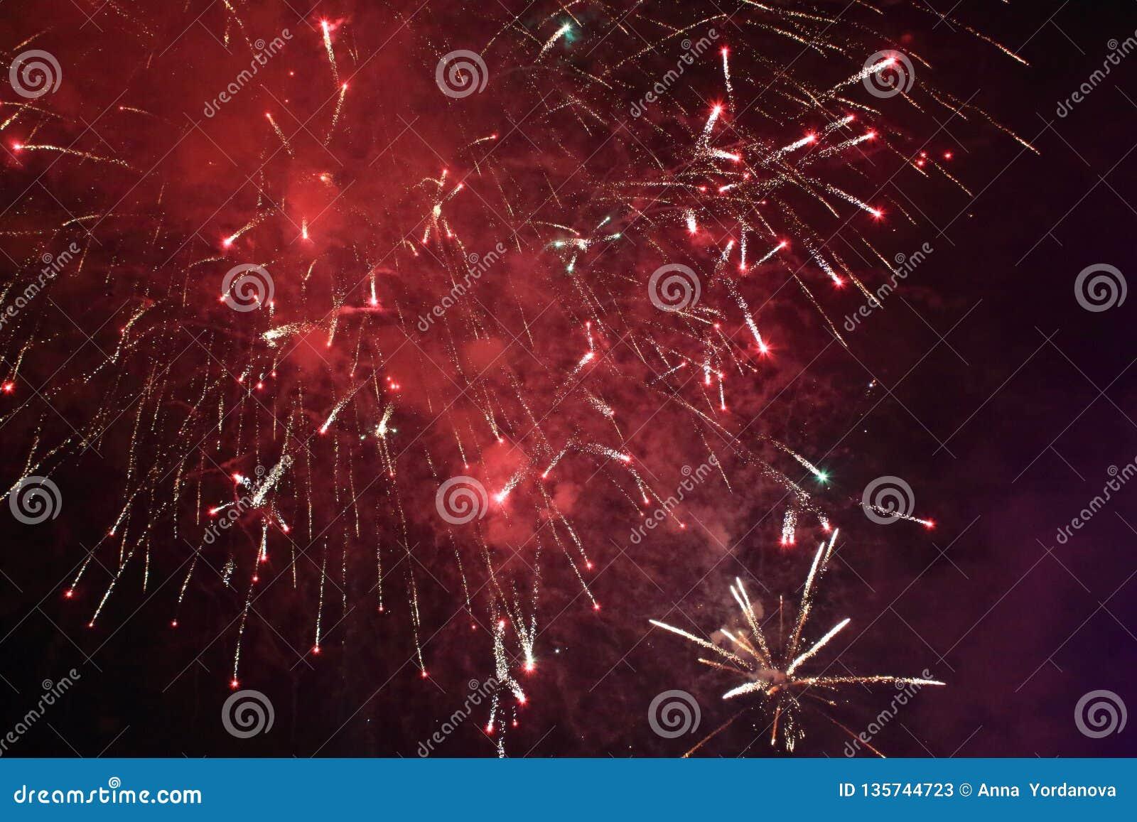 Red Illuminations Lights On Black Night Sky Background Stock Image