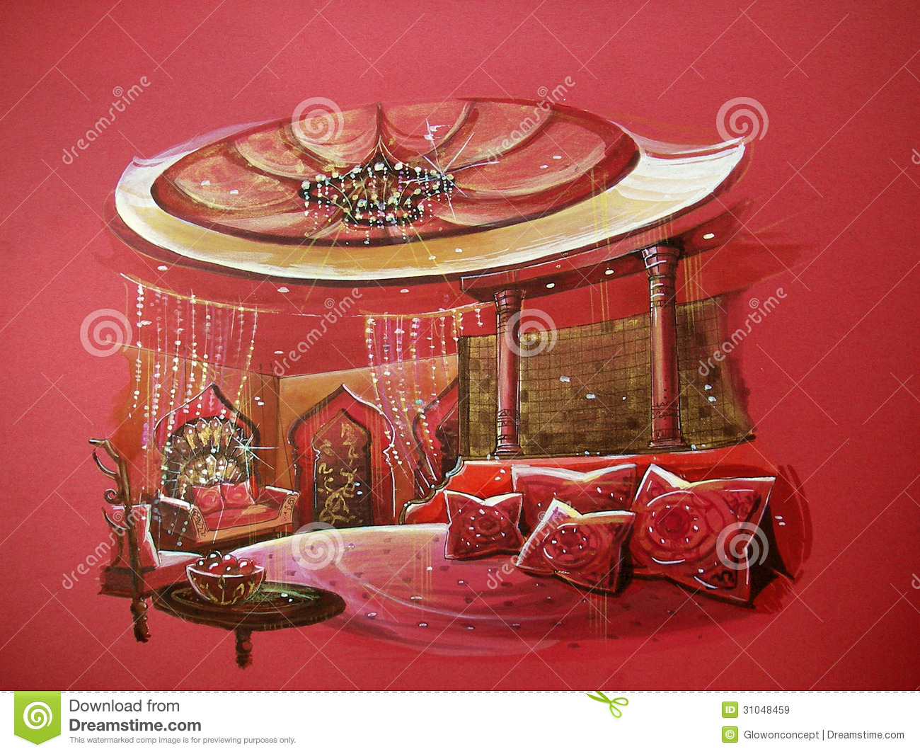 Royalty Free Stock Photo. Download Red Indian Style Bedroom ...