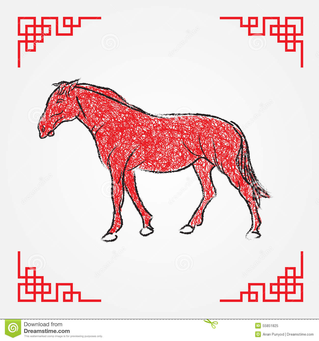 Drawing Red Lines With Green Ink : Red ink drawing line art horse zodiac stock vector