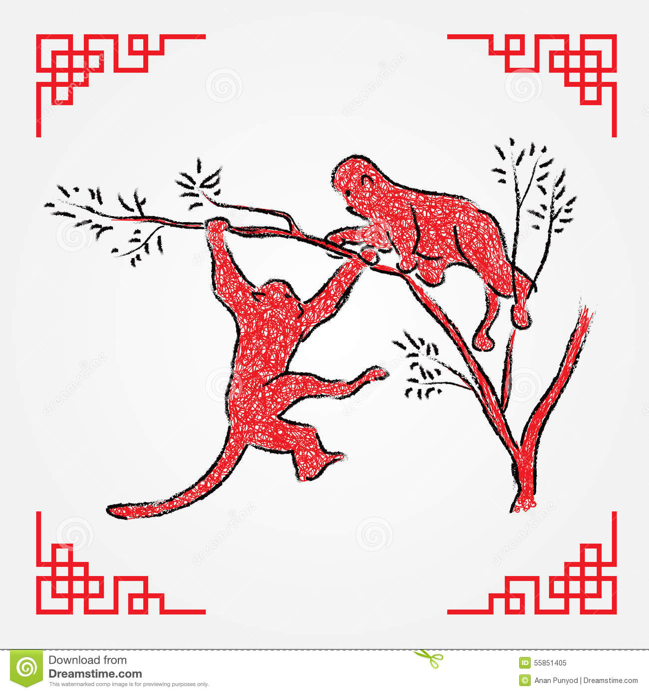 Drawing Red Lines With Green Ink : Red ink drawing line art monkey zodiac stock vector