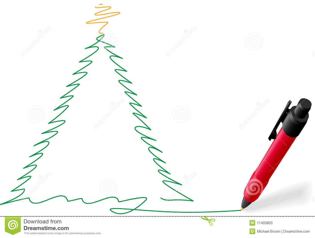 Christmas tree drawing outline - Red Ink Pen Writing Merry Christmas Tree Drawing Stock Photos