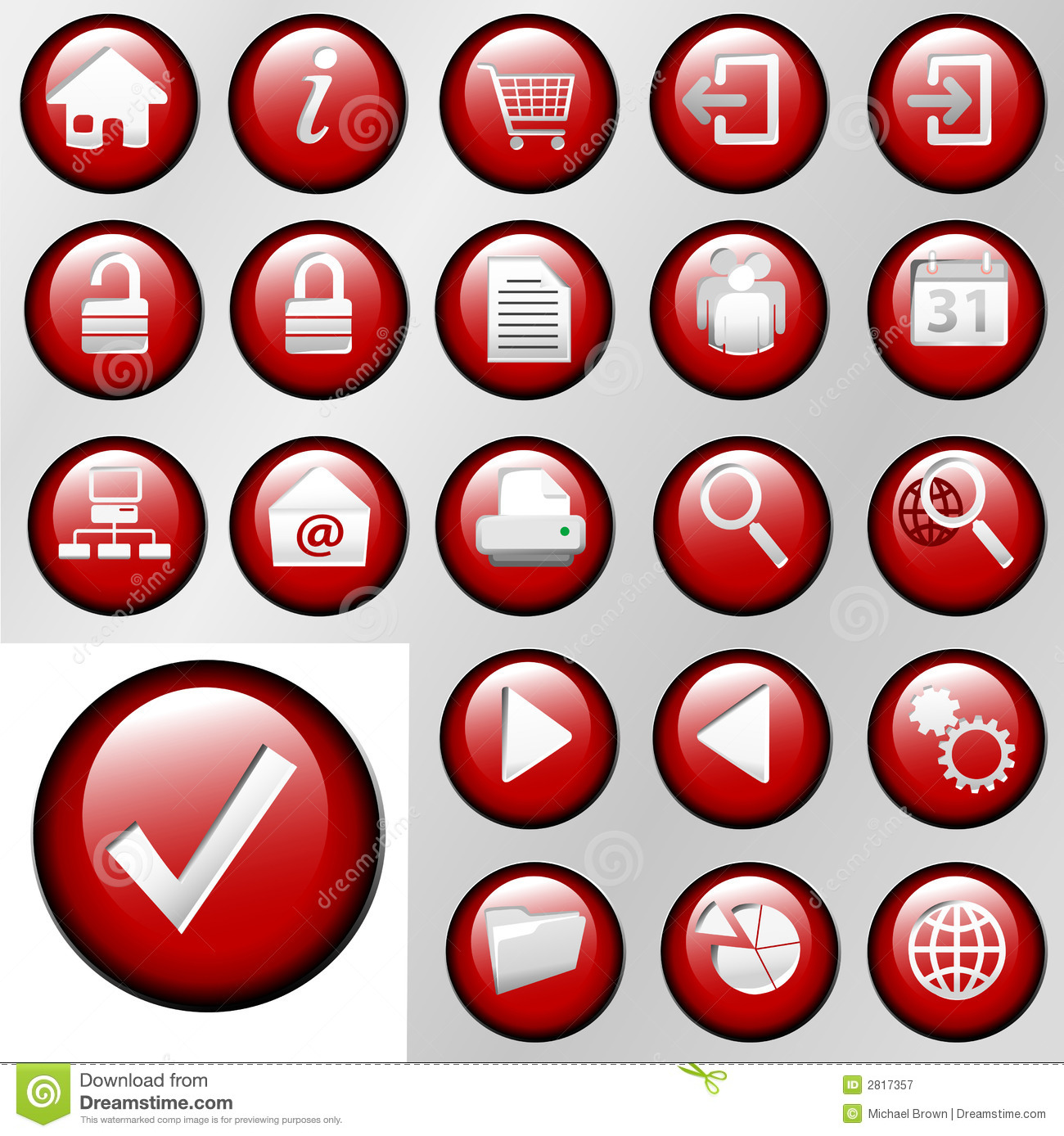 Red Inset Control Button Icons Royalty Free Stock