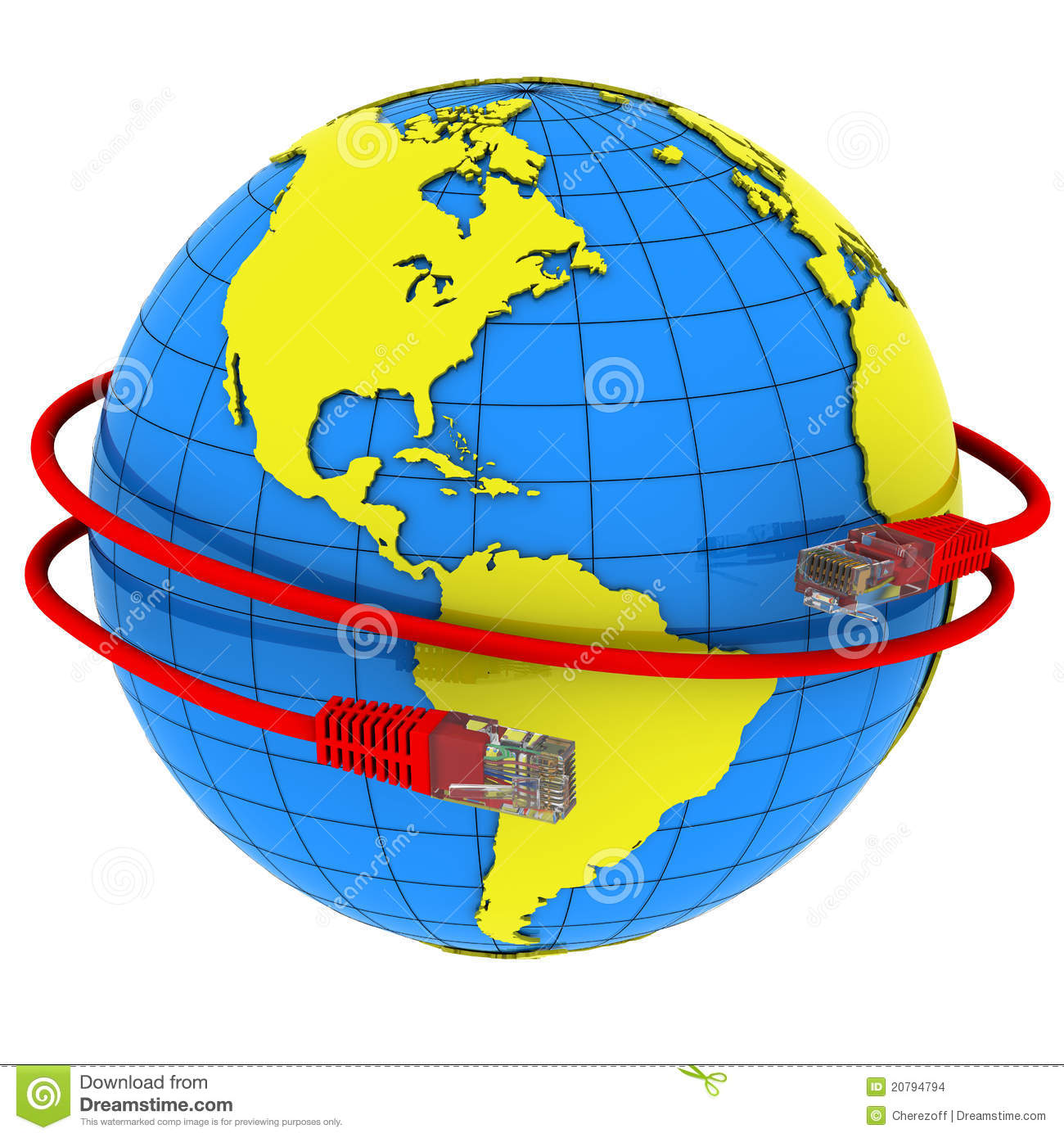 Red internet cable wraps around the planet earth stock for Internet plante