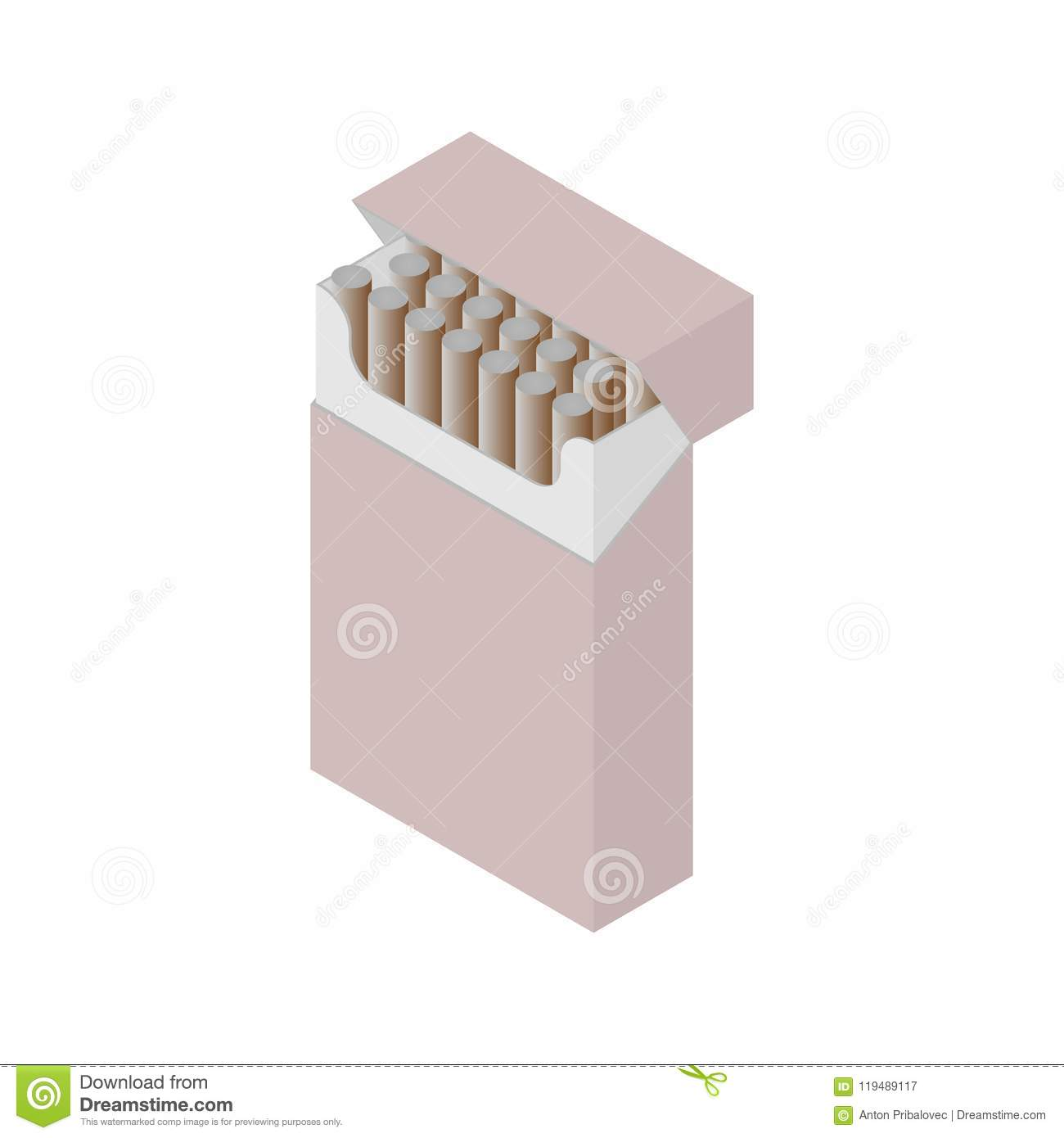 Red isometric cigarette pack smokers