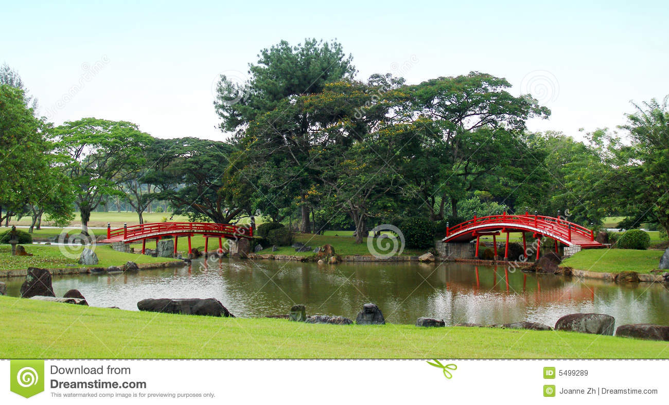 Download Red Japanese Bridges In Garden Stock Image - Image of buildings, beautiful: 5499289