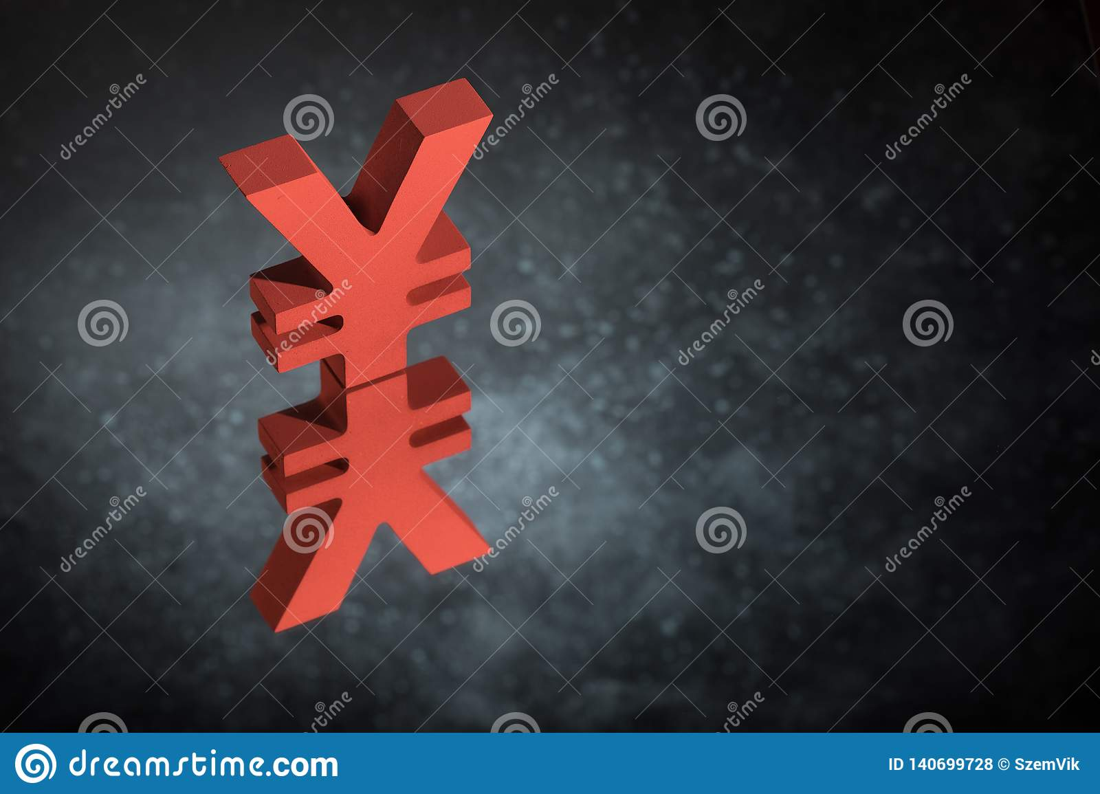 Red Japanese of Chinese Currency Symbol or Sign With Mirror Reflection on Dark Dusty Background