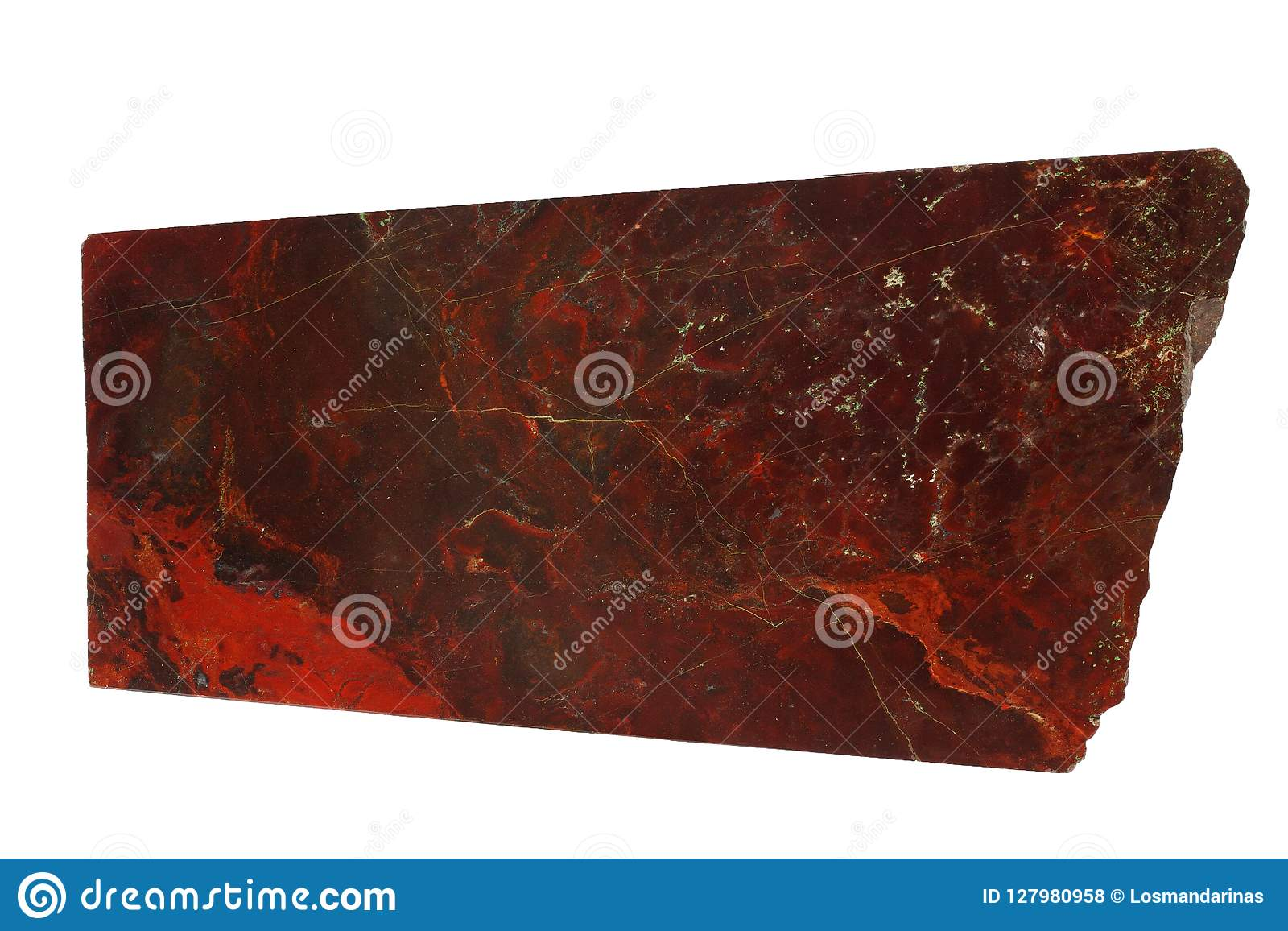 Red jasper mineral isolated