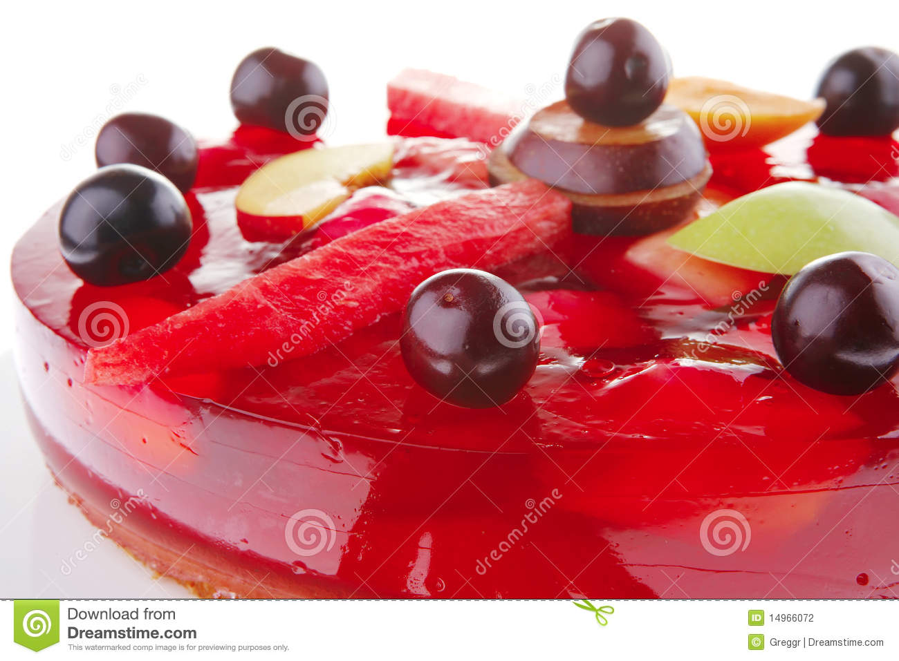 Red Jelly Cake Recipe: Red Jelly Cake And Cherry Stock Photography