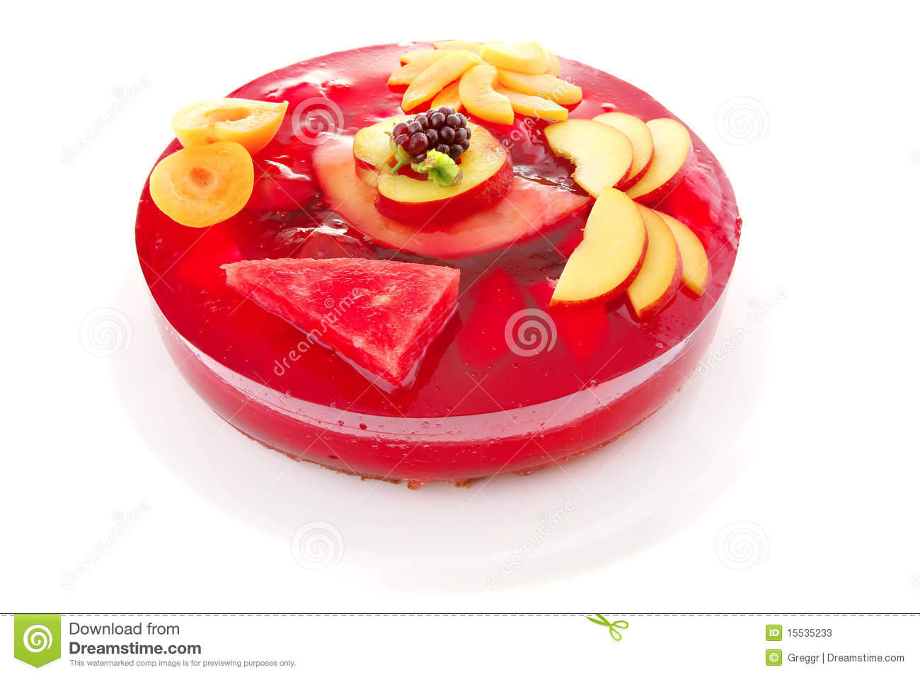 Red Jelly Cake Recipe: Red Jelly Cake And Peach Stock Photos