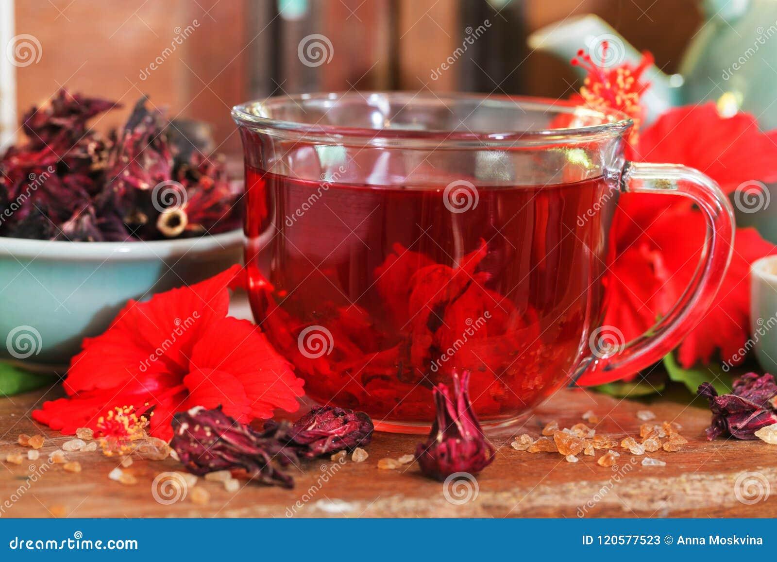 Red Karkade Hibiscus Red Sorrel Tea In Glass Mug With Dry Tea Cu